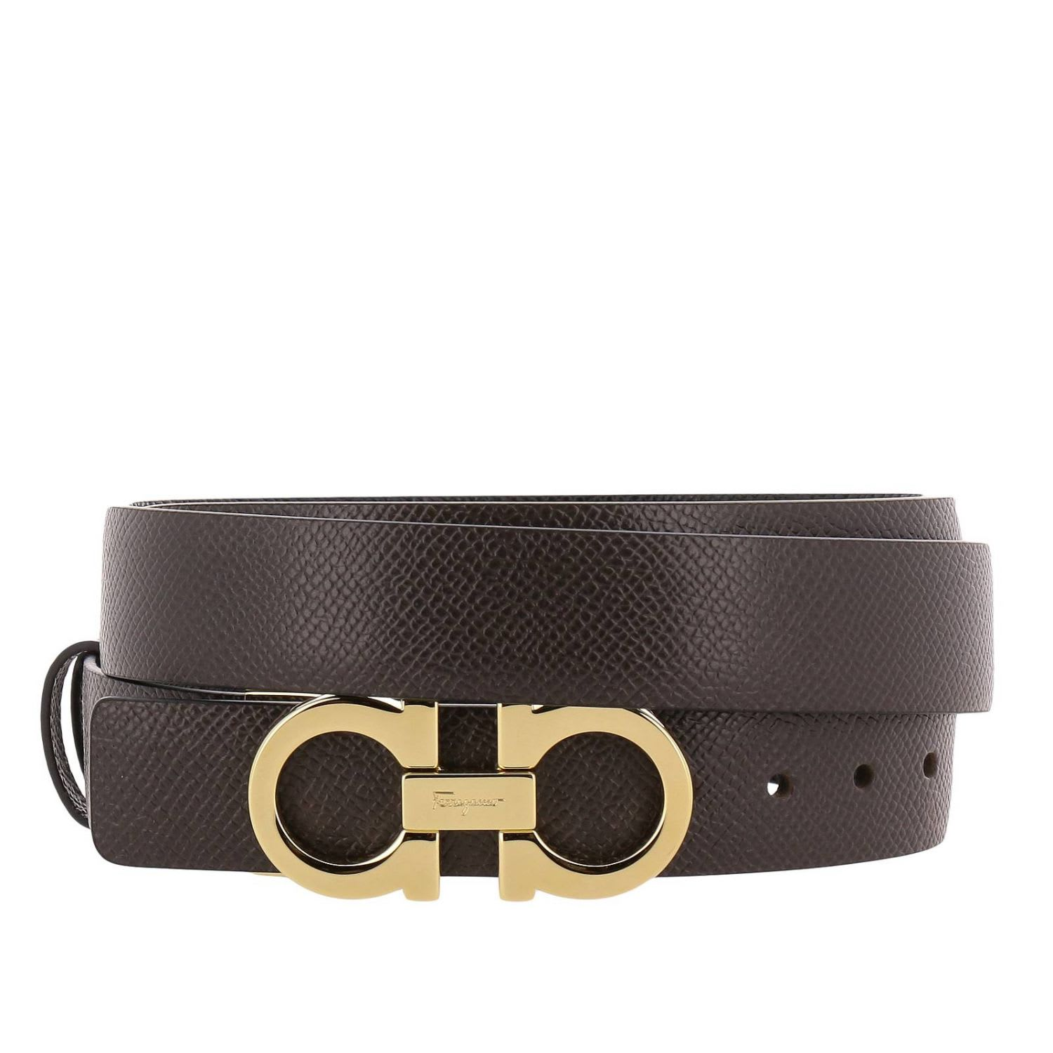 Salvatore Ferragamo Belt Ferragamo Gancini Adjustable And Reversible Buckle  Belt In Genuine Score Leather