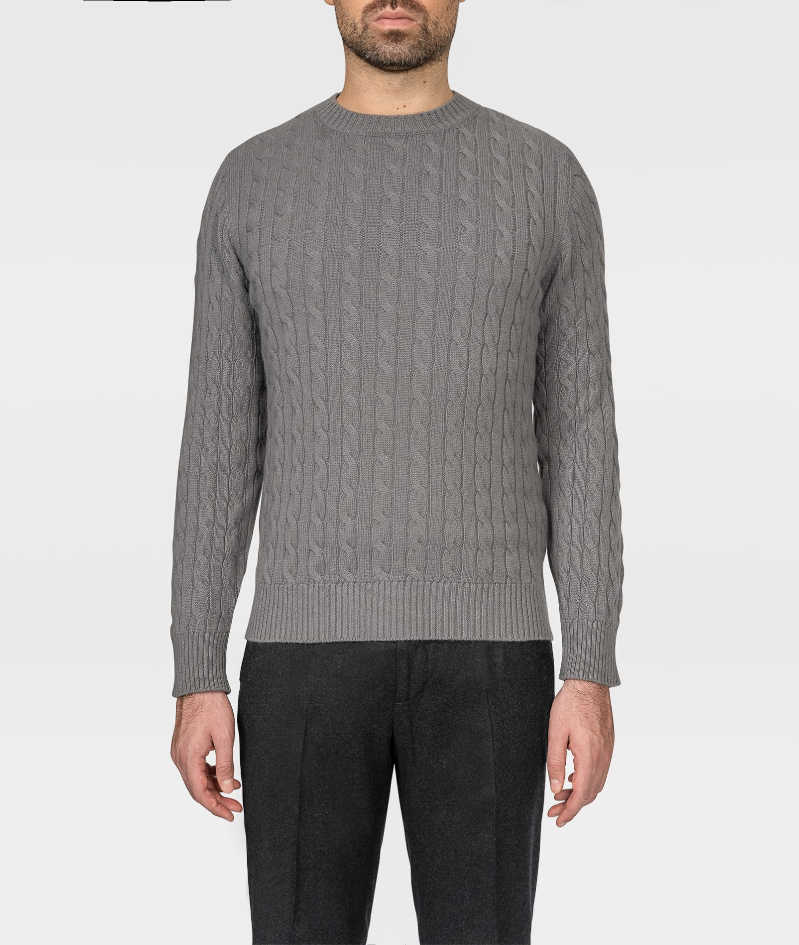 Cashmere Cable Knit Sweater col Du Pillon