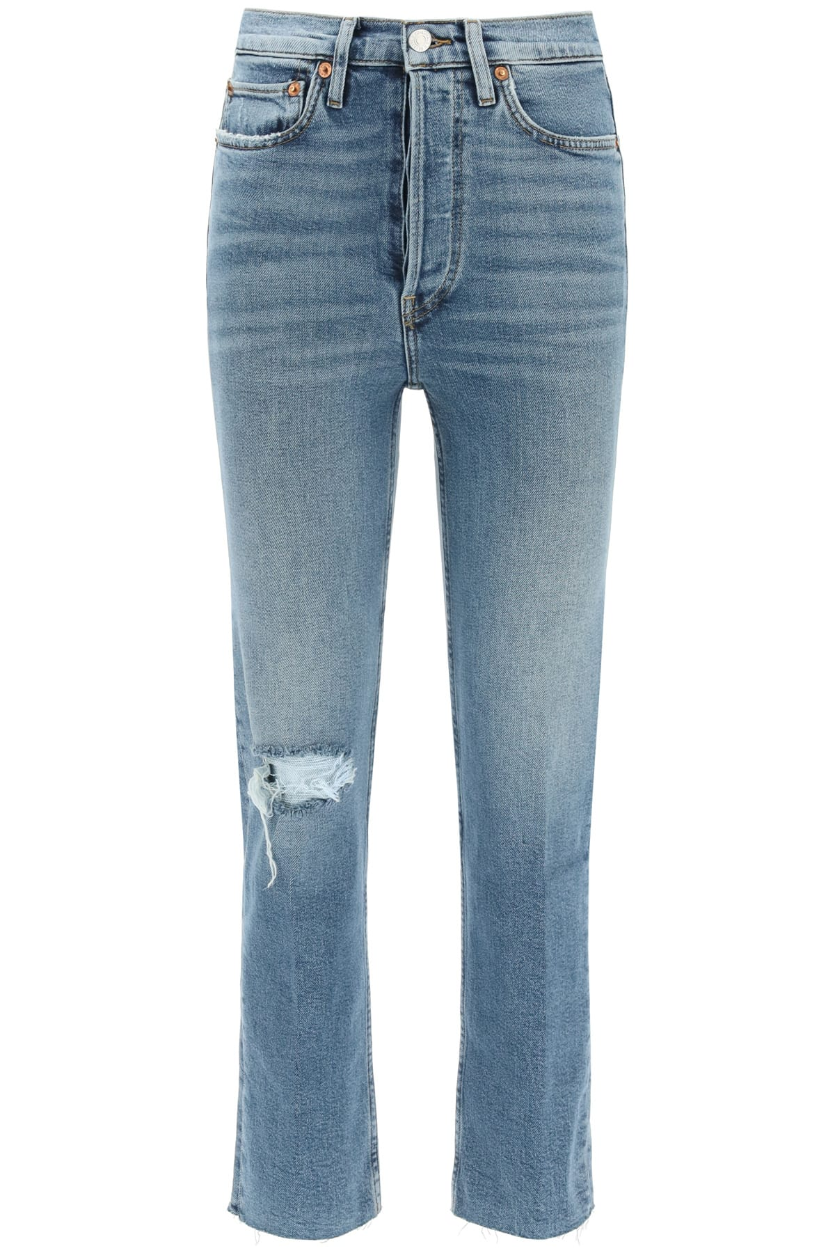 Re/done HIGH RISE STOVE PIPE JEANS WITH RIPS