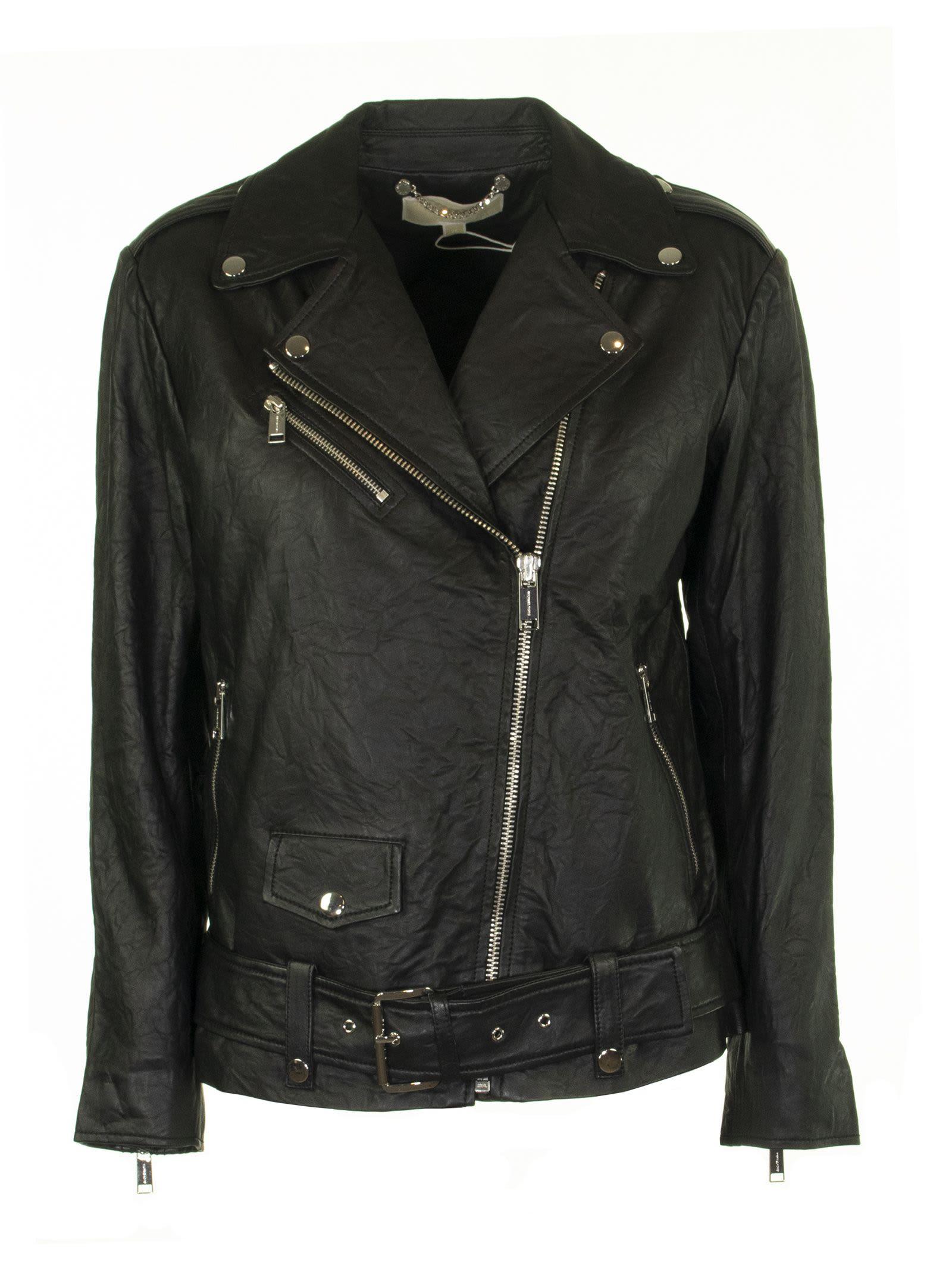 Michael Kors Crinkled Leather Moto Jacket Black