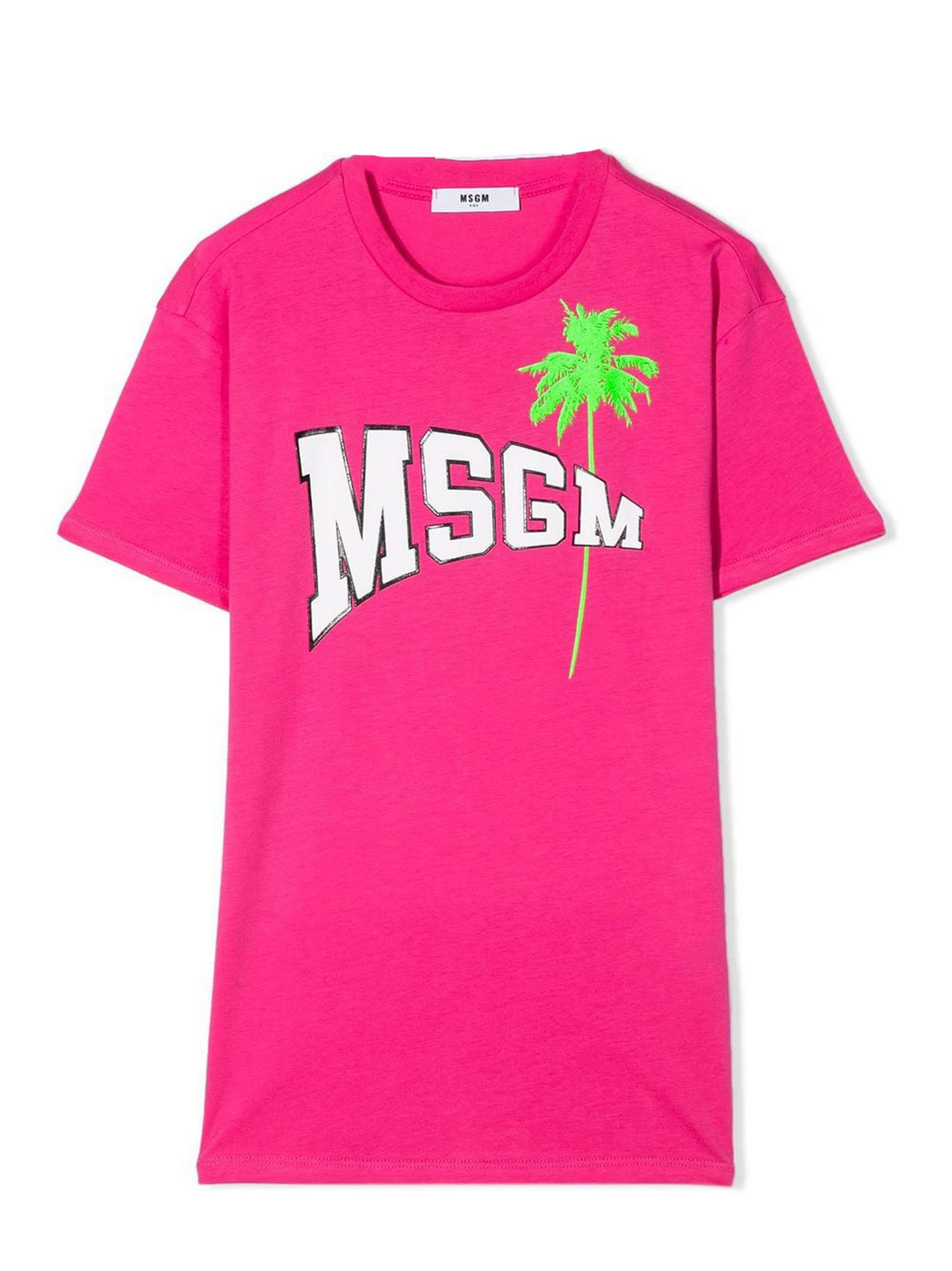 Buy MSGM Fuchsia Cotton T-shirt Dress online, shop MSGM with free shipping