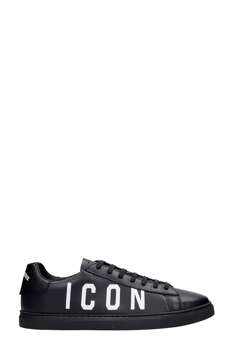 Dsquared2 NEW TENNIS SNEAKERS IN BLACK LEATHER