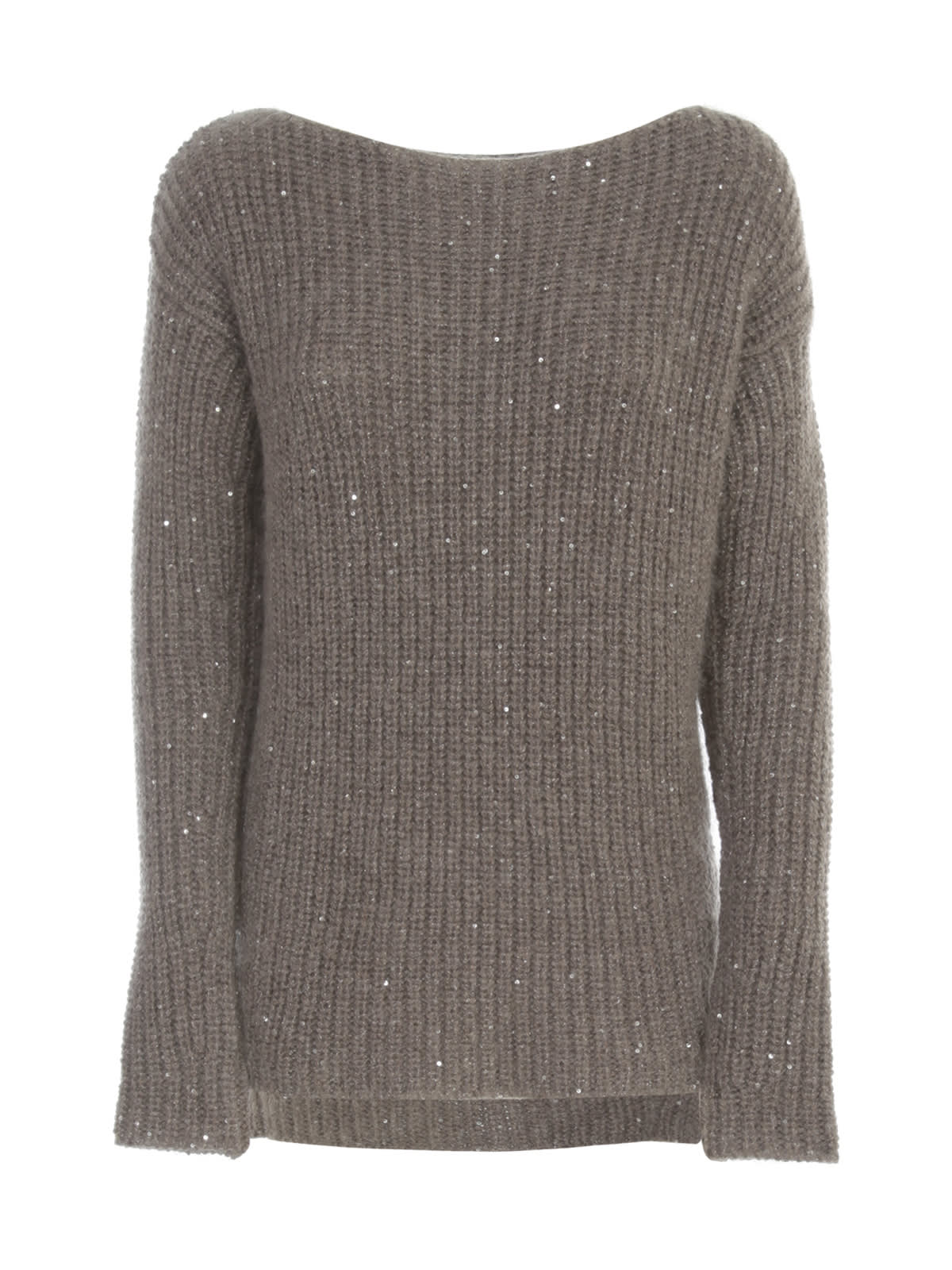 Ribbed Sweater Boat Neck W/paillettes