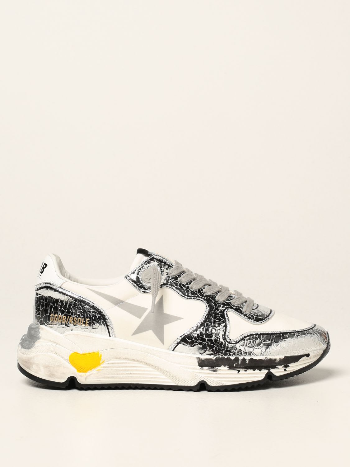 Golden Goose Sneakers Golden Goose Running Sole Sneakers In Laminated Leather And Lycra