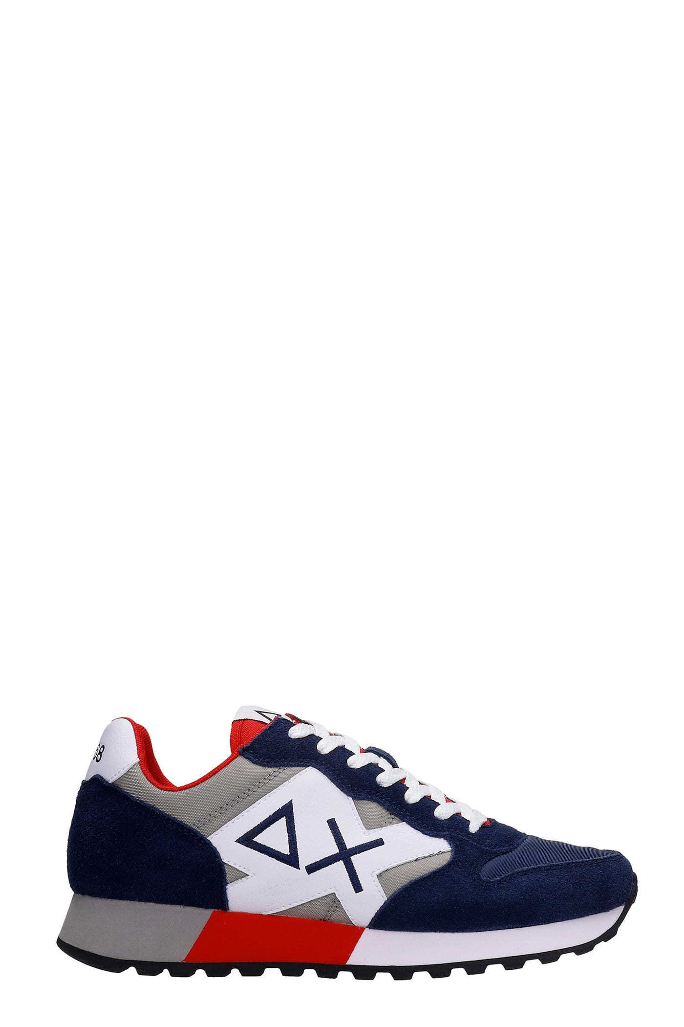Sun 68 JAKI BICOLOR SNEAKERS IN BLUE SUEDE AND FABRIC