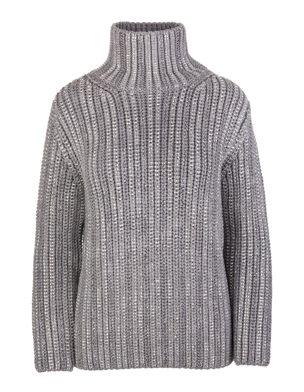 Grey High Collar Sweater With Crystals