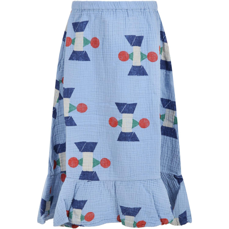Light-blue Skirt For Girl With Geometric Deisigns