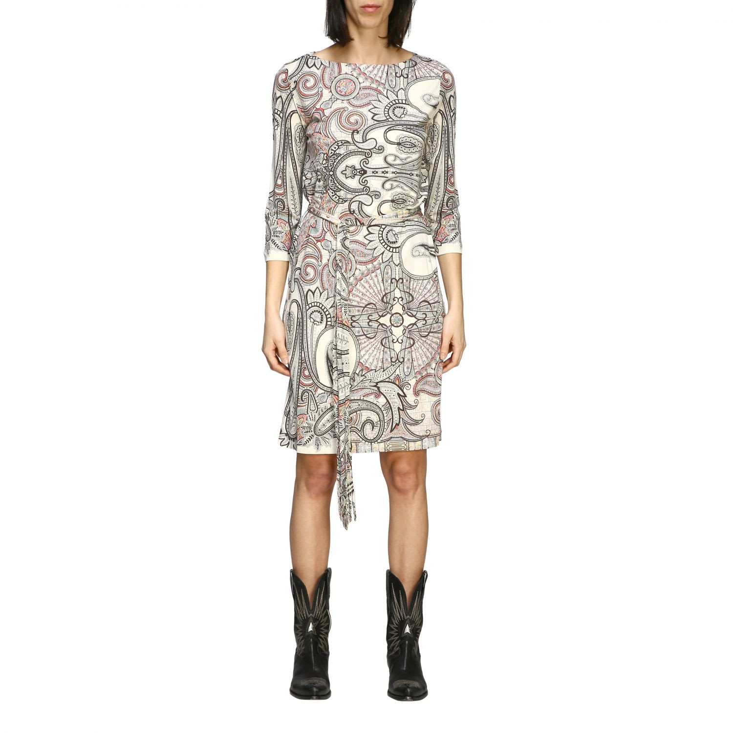 Buy Etro Dress Etro Jersey Dress With Paisley Print And Belt online, shop Etro with free shipping