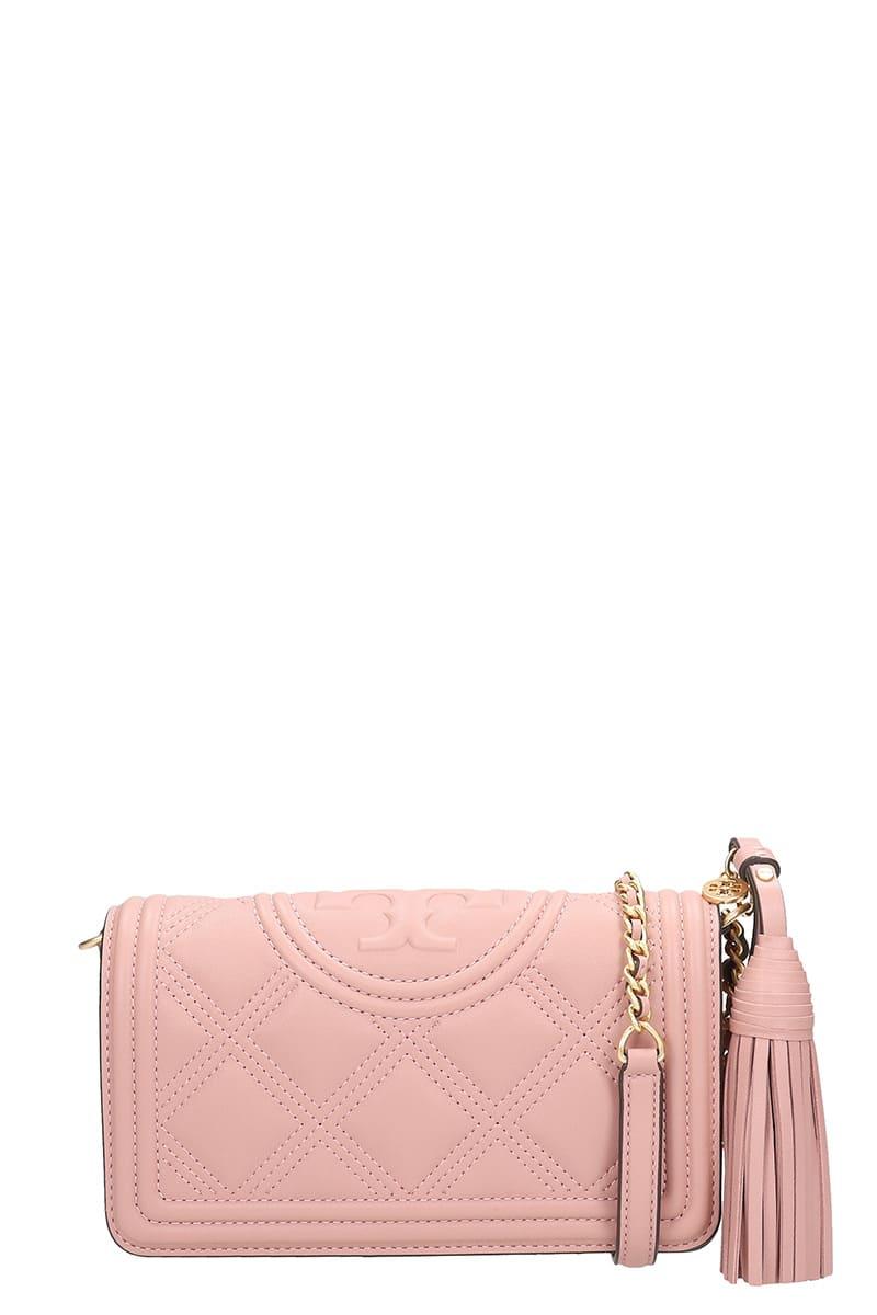 Tory Burch Wallet Shoulder Bag In Rose-pink Leather