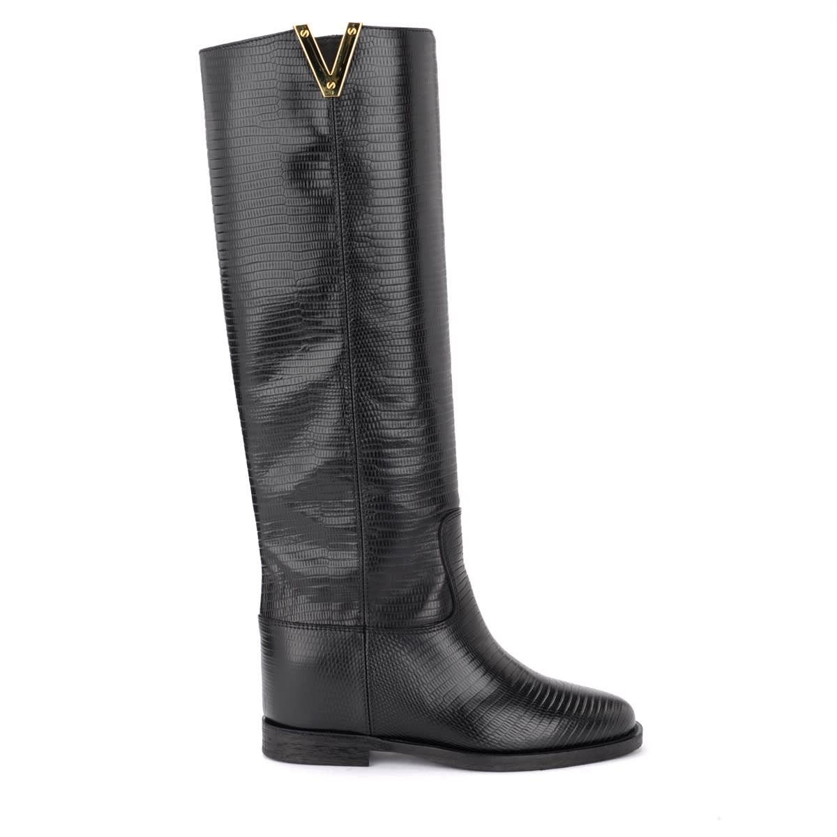 Via Roma 15 BOOT IN BLACK TEJUS PRINT LEATHER WITH GOLDEN V
