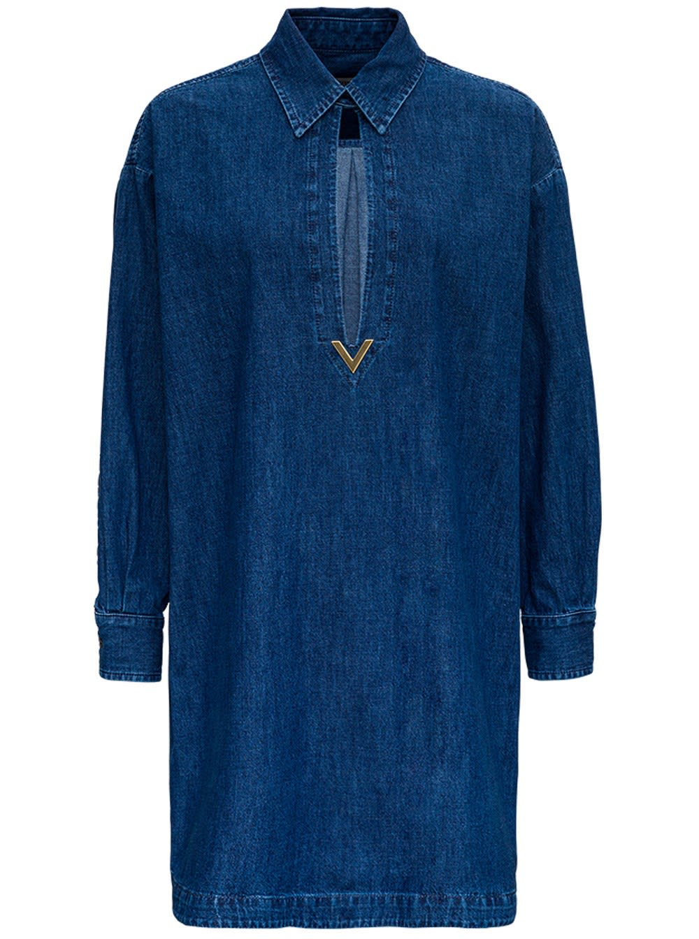 Valentino Kaftan Dress In Denim Chambray V Gold