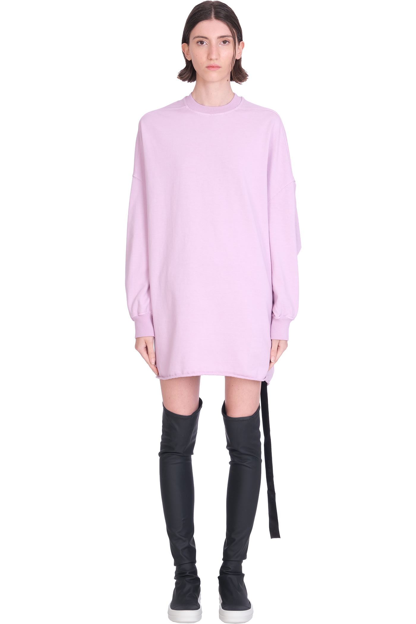 Crater Tunic Dress In Rose-pink Cotton
