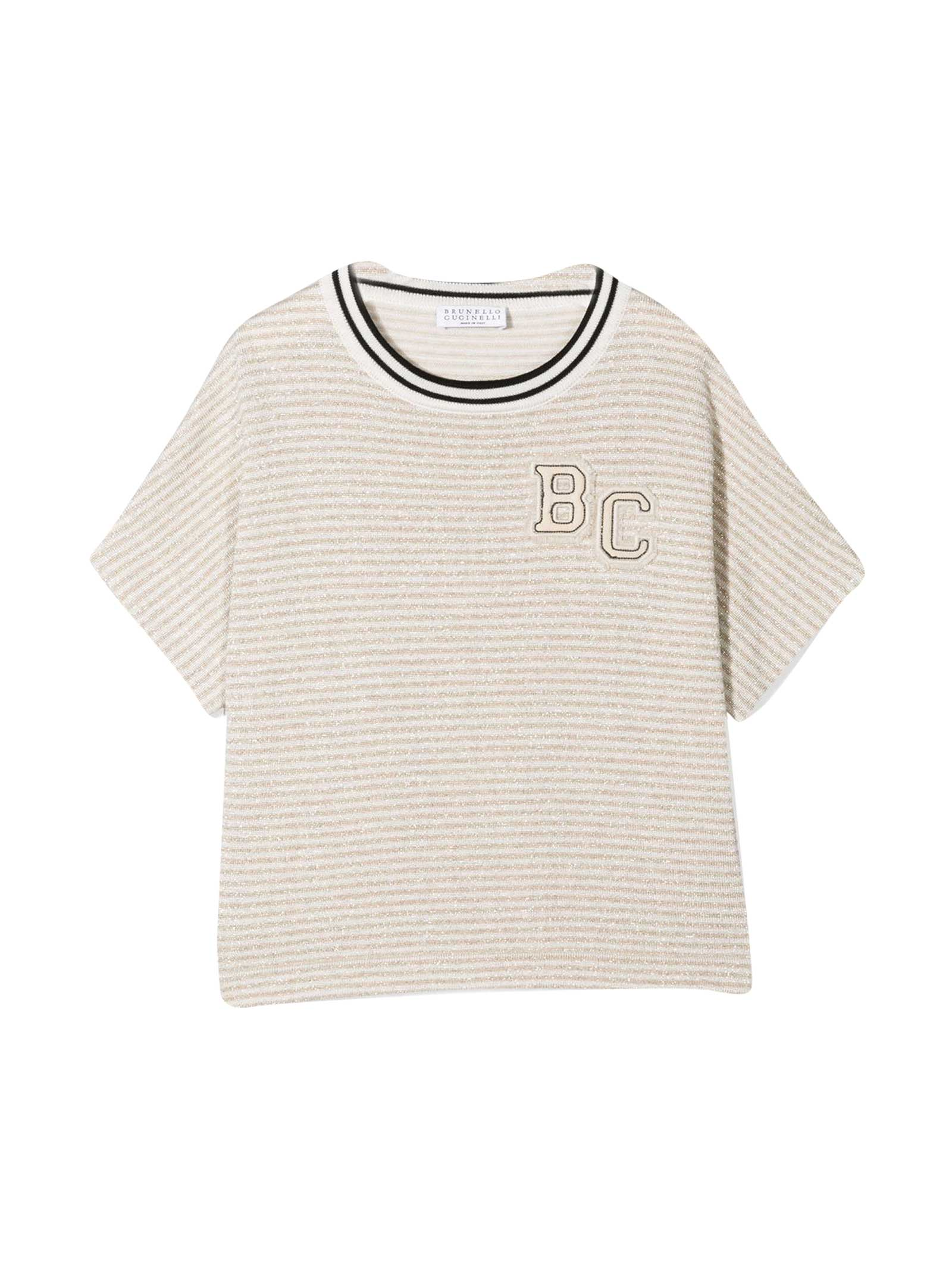 Brunello Cucinelli Cottons STRIPED T-SHIRT WITH APPLICATION