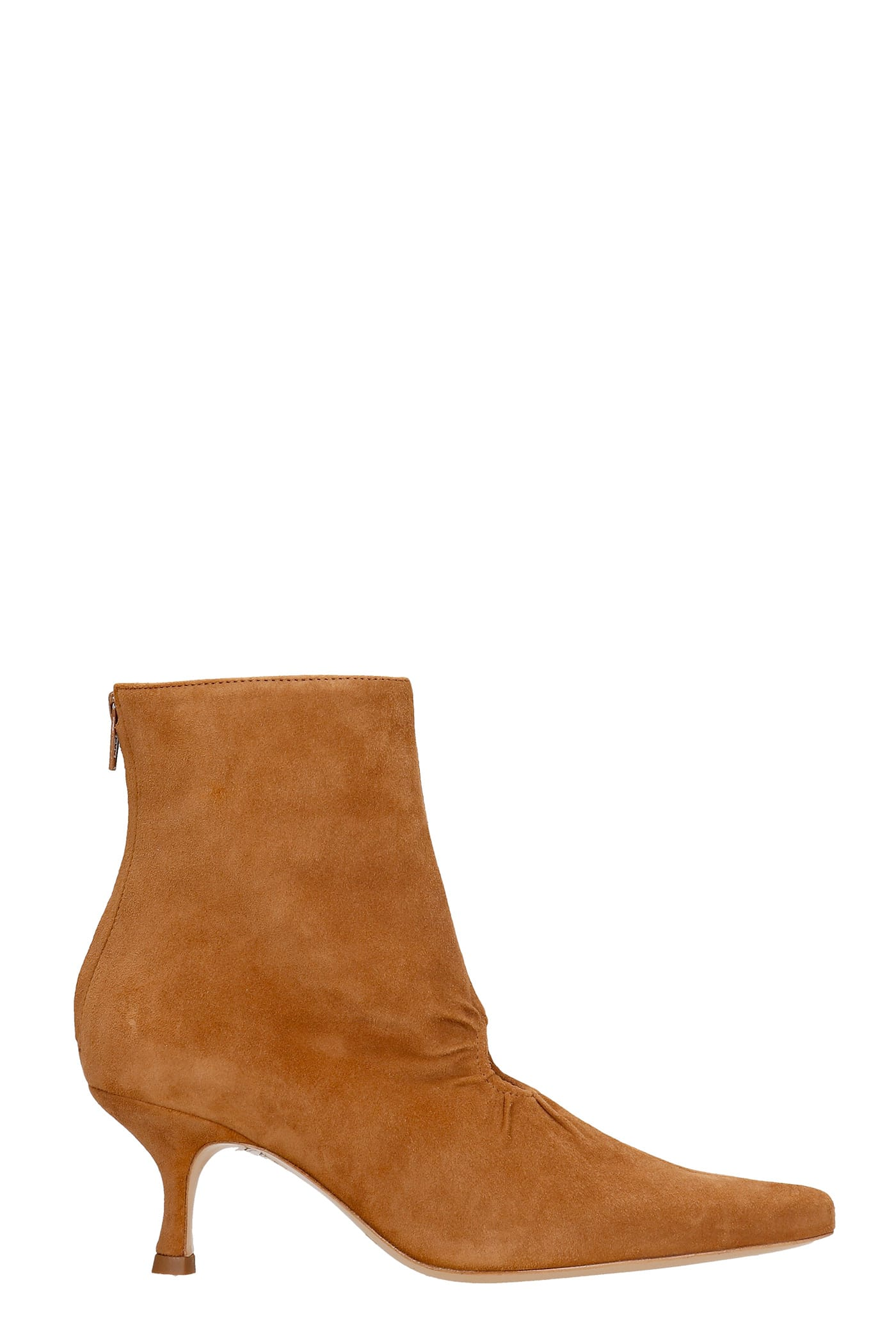 Luna High Heels Ankle Boots In Brown Suede