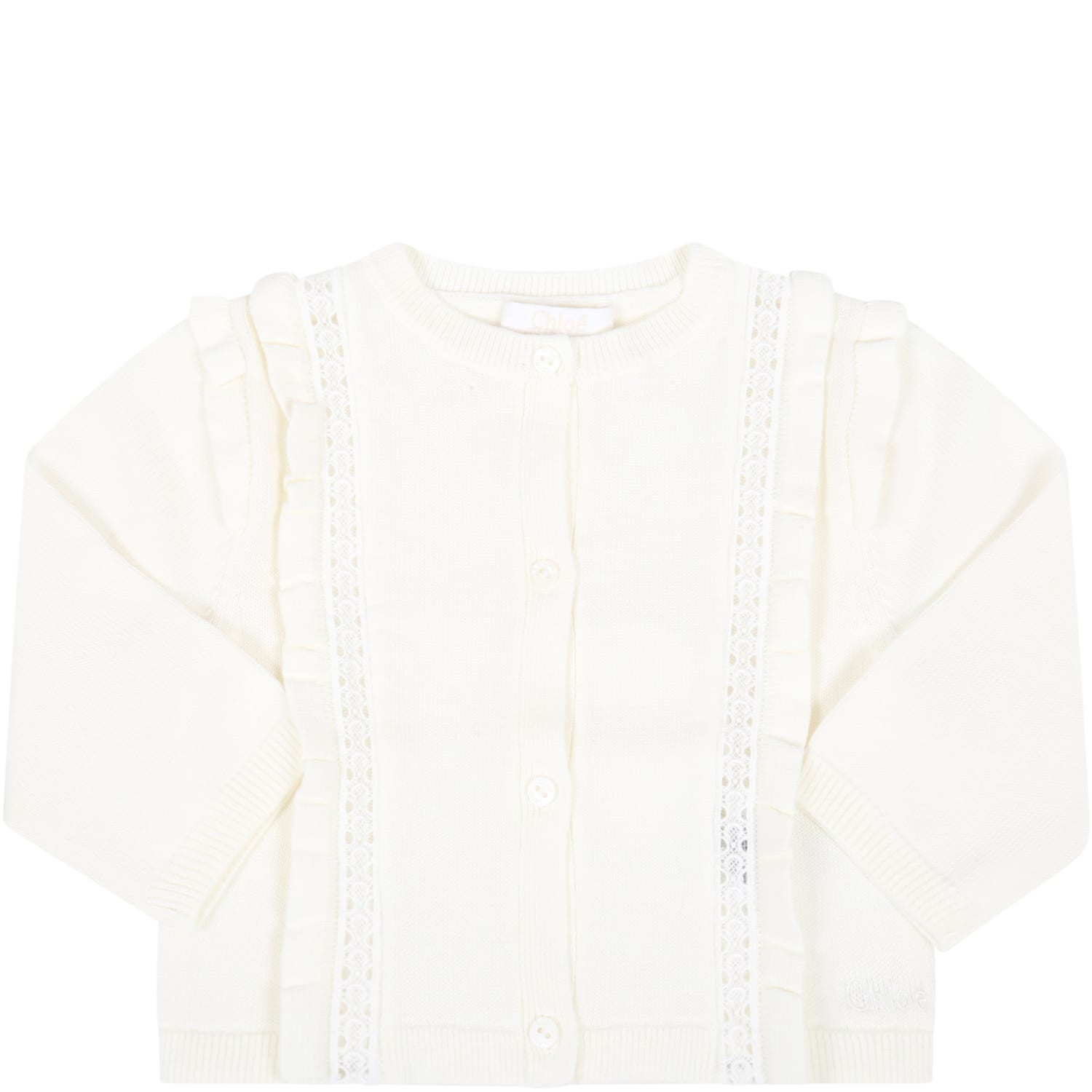 Chloé Cottons IVORY CARDIGAN FOR BABY GIRL WITH LOGO