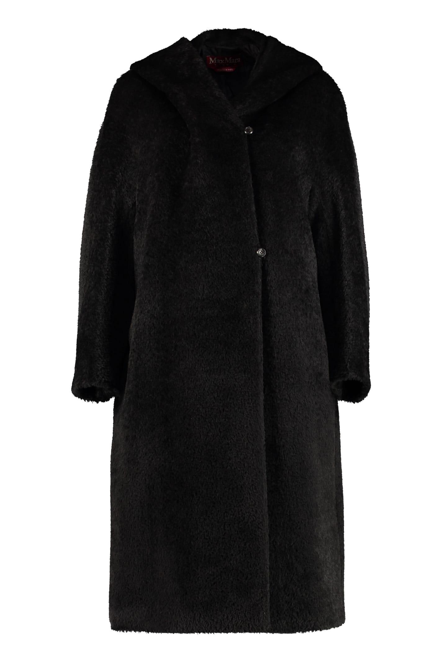 Max Mara Studio Urlo Hooded Alpaca Blend Coat