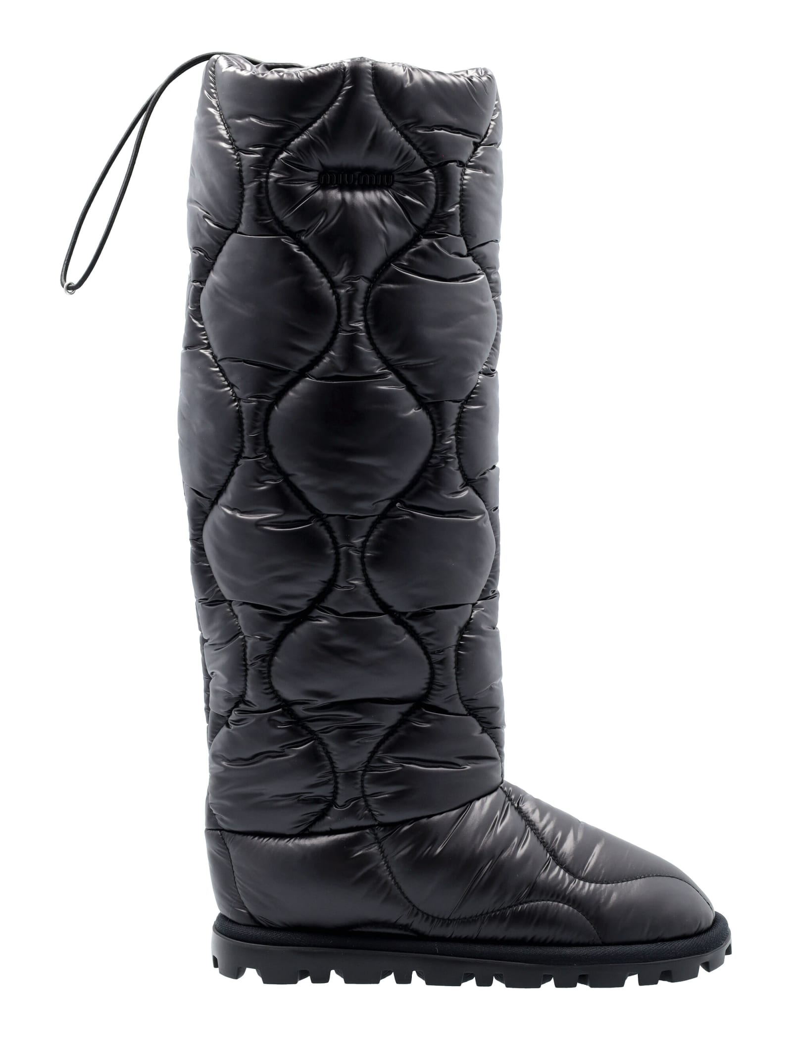 Miu Miu Padded Knee-lenght Boots In Nero