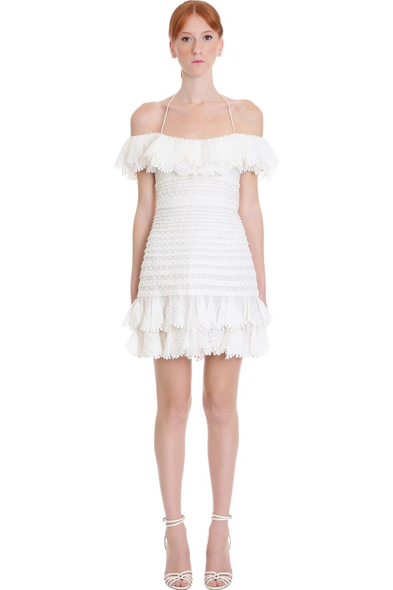 Buy Zimmermann Dress In White Polyester online, shop Zimmermann with free shipping