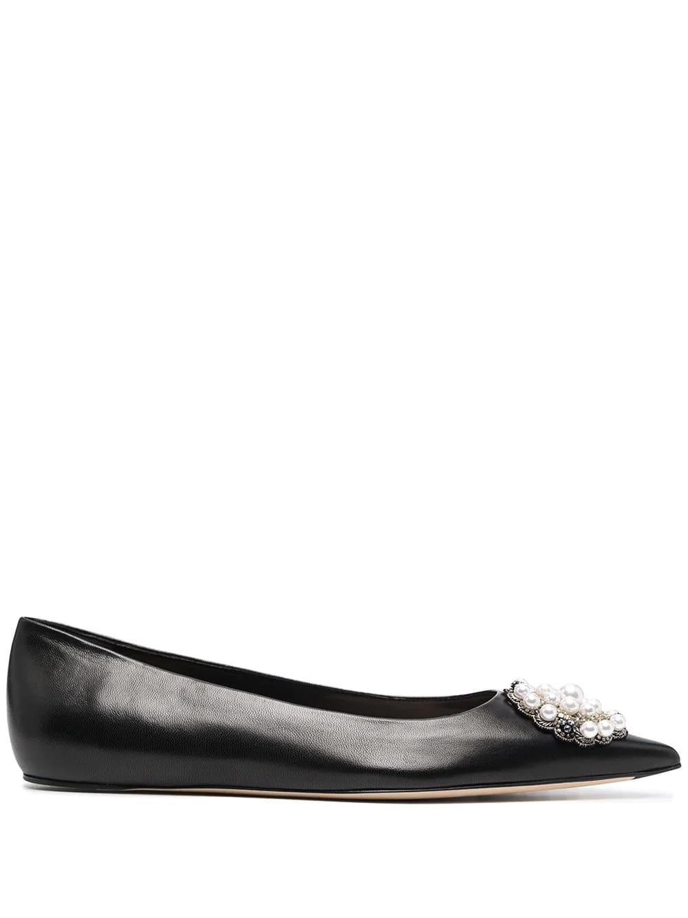 Buy Alexander McQueen Black Ballerina With Jewel Application online, shop Alexander McQueen shoes with free shipping