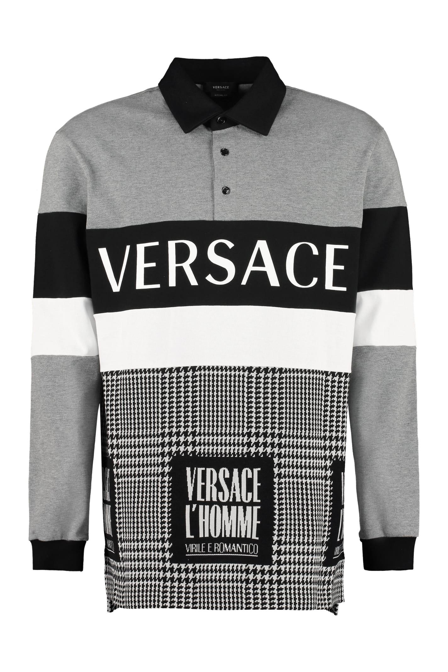 Versace Logo Print Cotton Polo Shirt