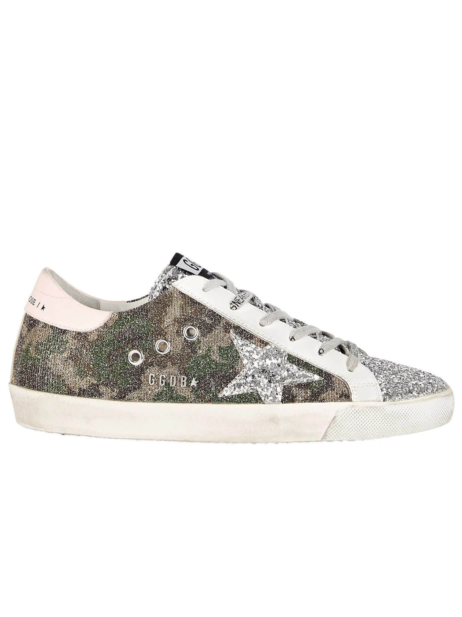 Buy Golden Goose Camouflage Glitter Superstar Sneakers online, shop Golden Goose shoes with free shipping