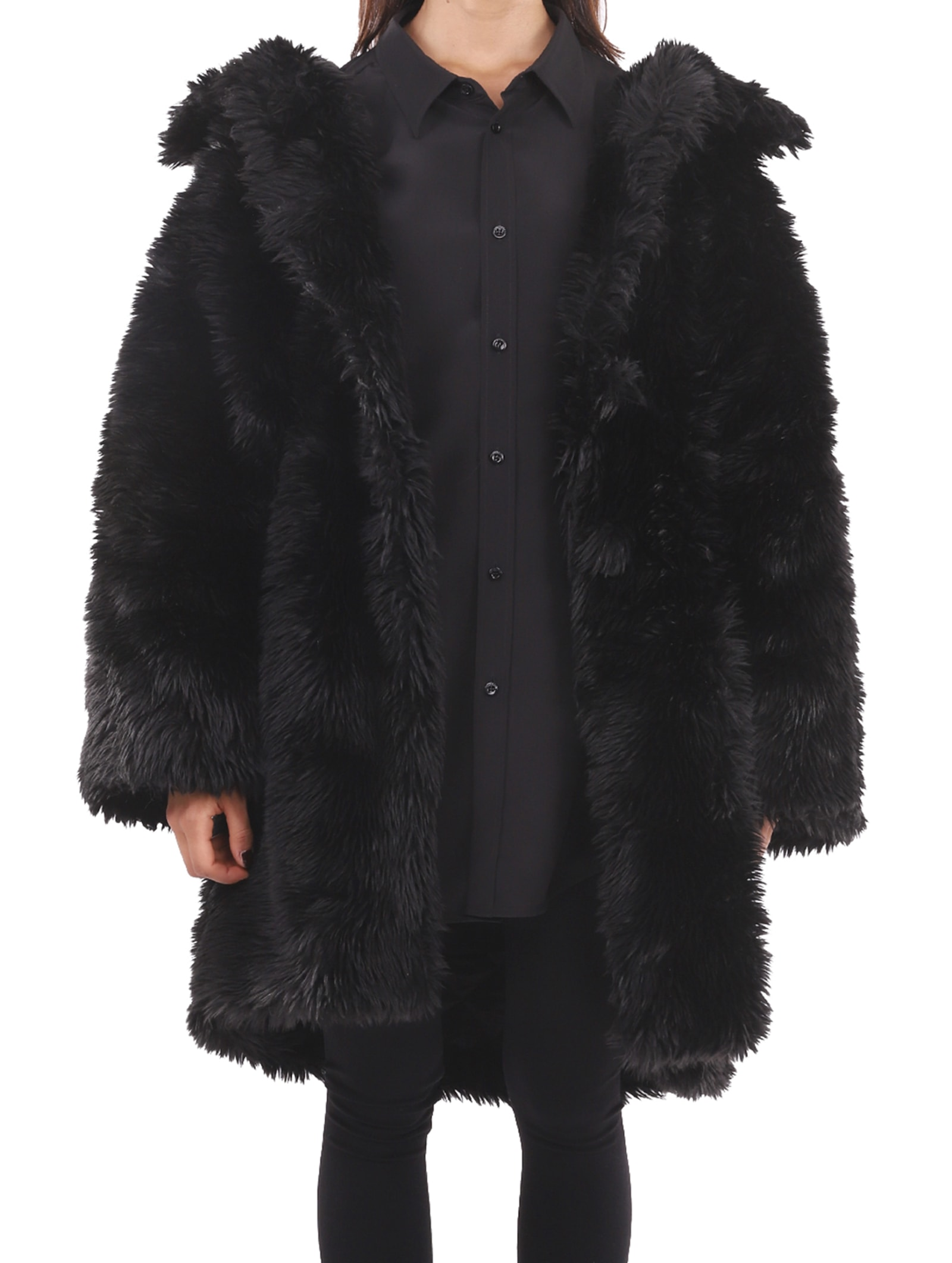 Photo of  Balenciaga Black Swing Fake Fur Coat- shop Balenciaga jackets online sales