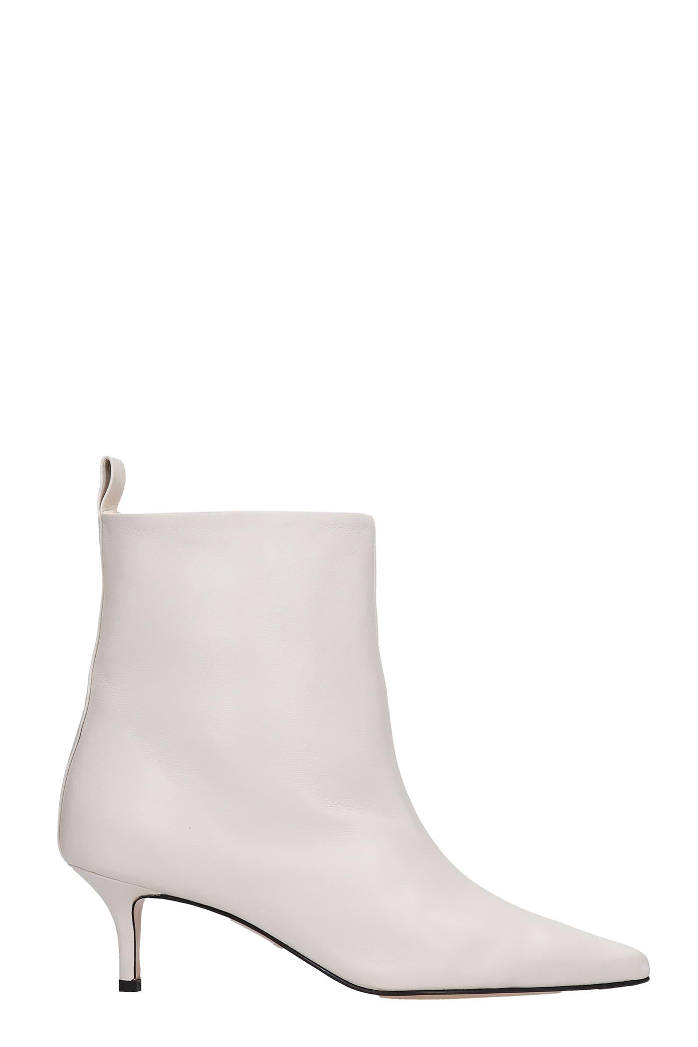 Bella Low Heels Ankle Boots In Beige Leather