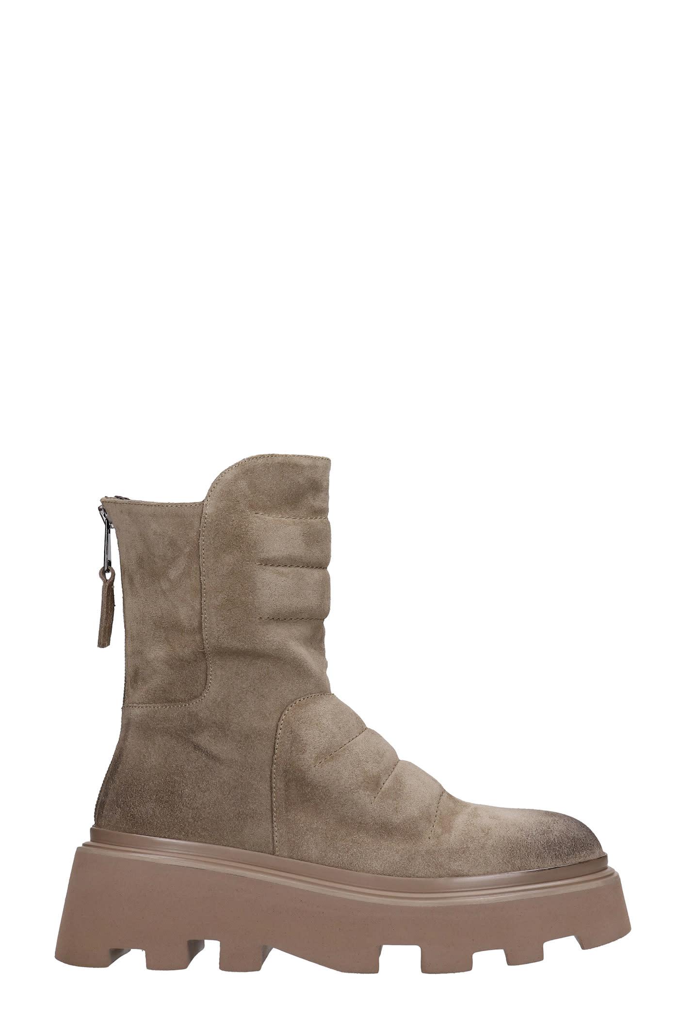 Low Heels Ankle Boots In Beige Suede