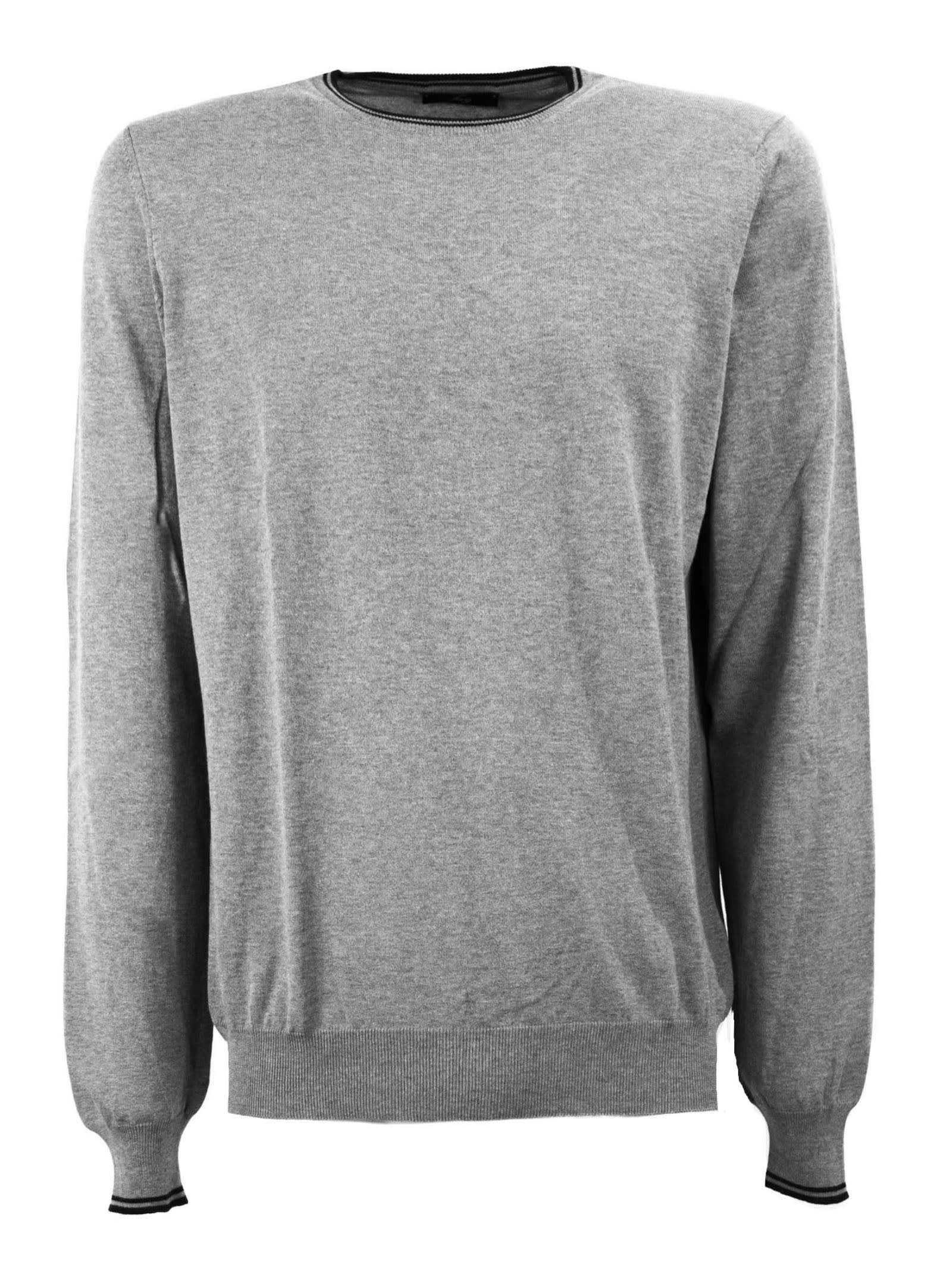 Grey Cotton Sweater Featuring Crew-Neck, Long Sleeves, Ribbed Trims, Regular Fit. Composition: 100% Cotton