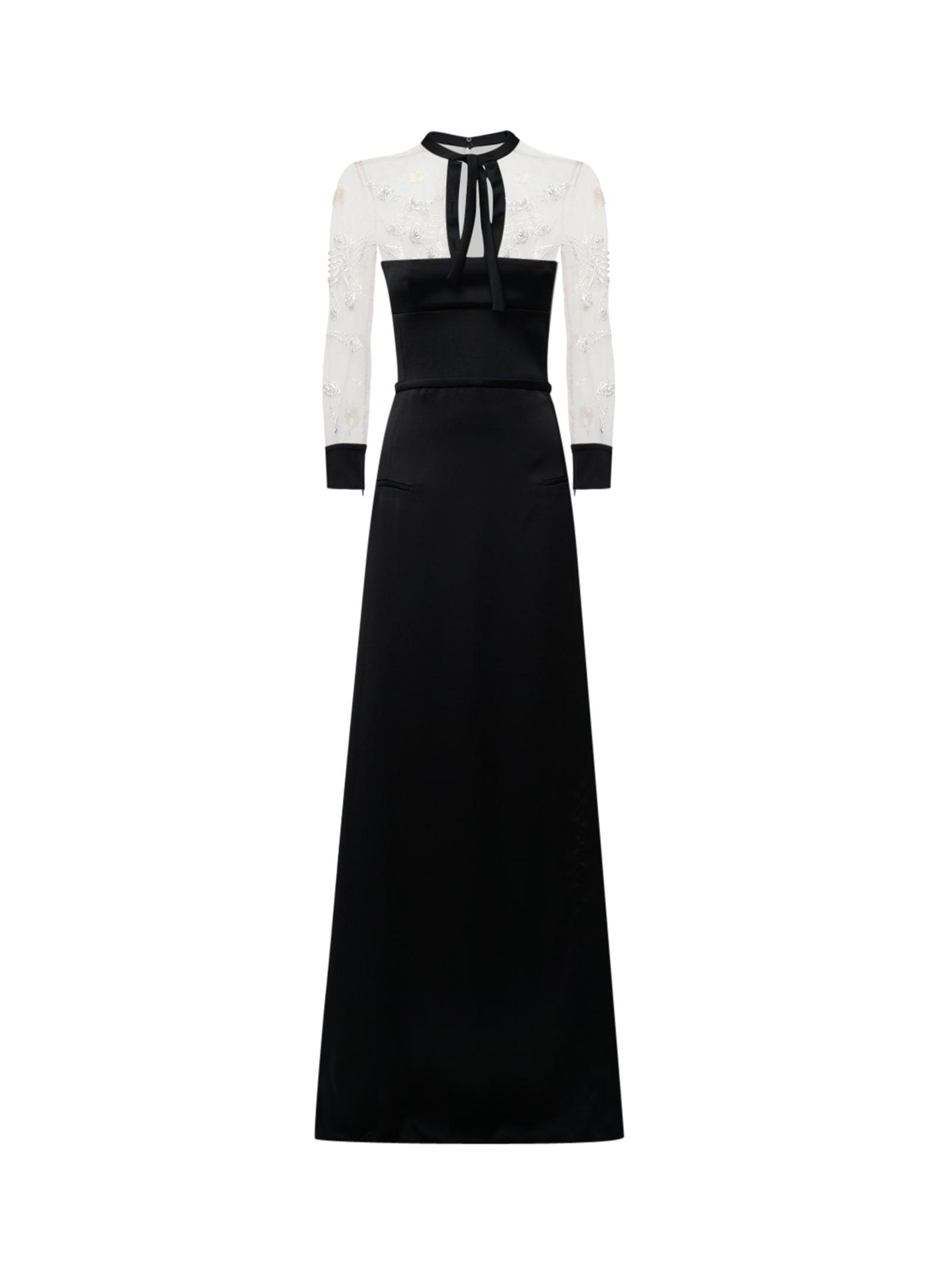 Crystal-embellished Black Long Dress