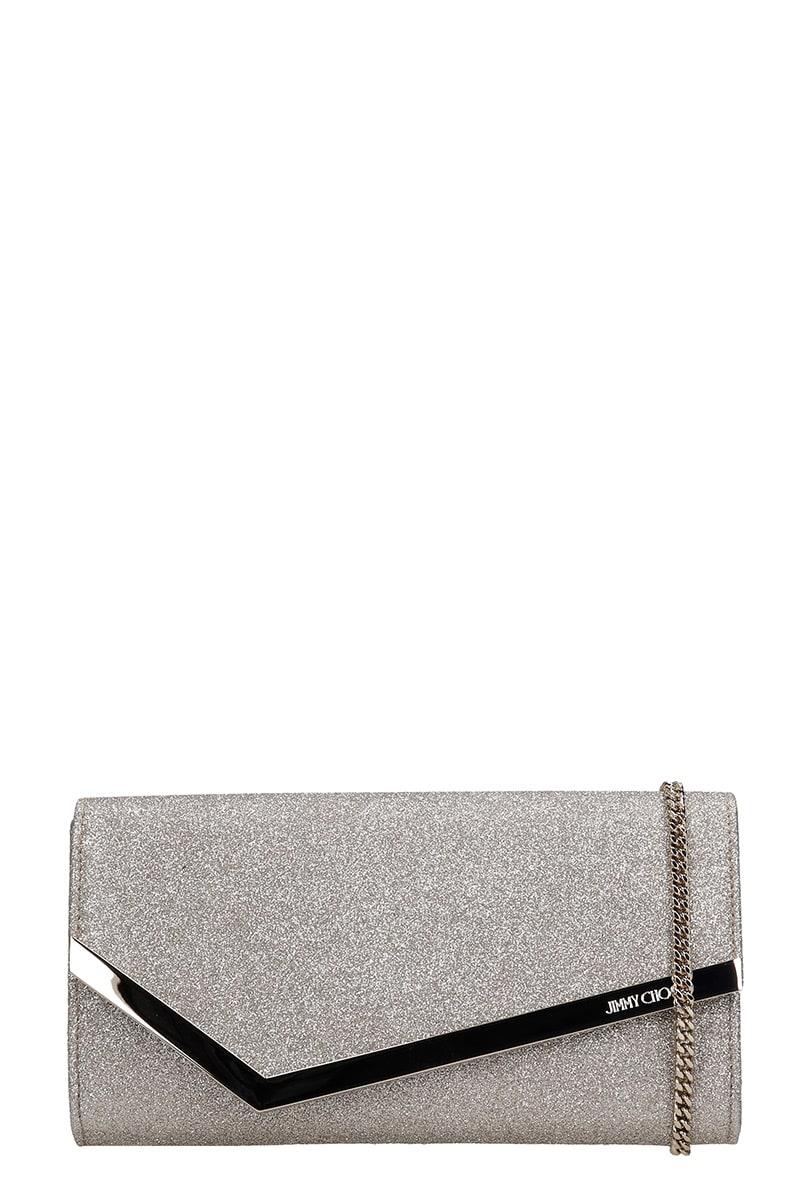 Jimmy Choo Emmei Dgz Clutch In Platinum Leather