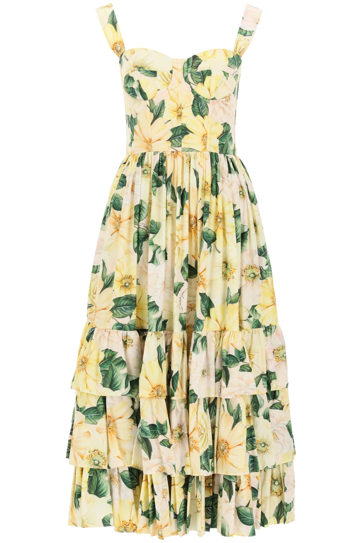 Buy Dolce & Gabbana Camellia Print Bustier Dress online, shop Dolce & Gabbana with free shipping