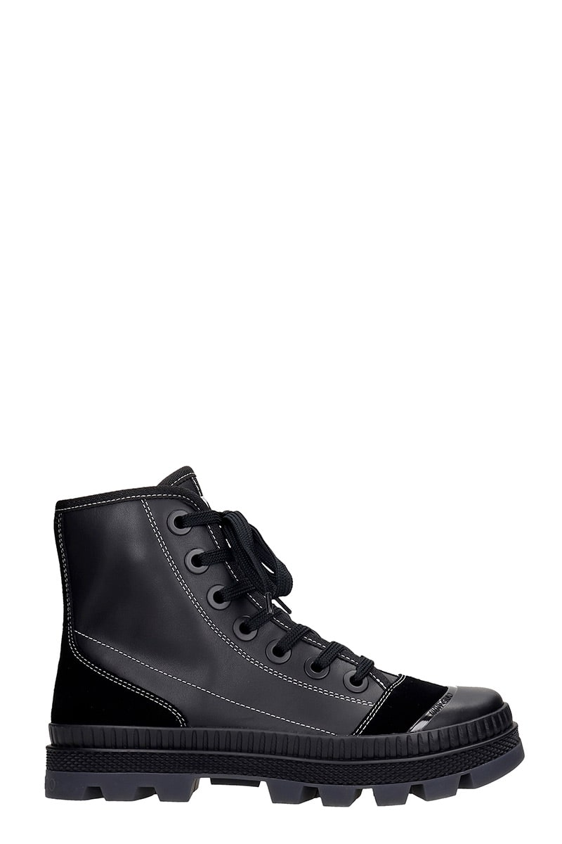 Jimmy Choo NORD COMBAT BOOTS IN BLACK SUEDE AND LEATHER