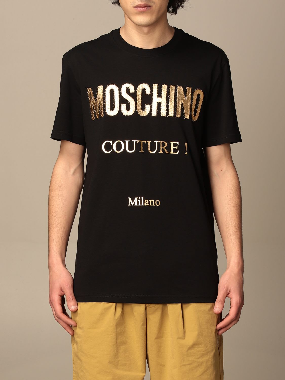 Moschino Cottons COUTURE COTTON T-SHIRT WITH LAMINATED LOGO