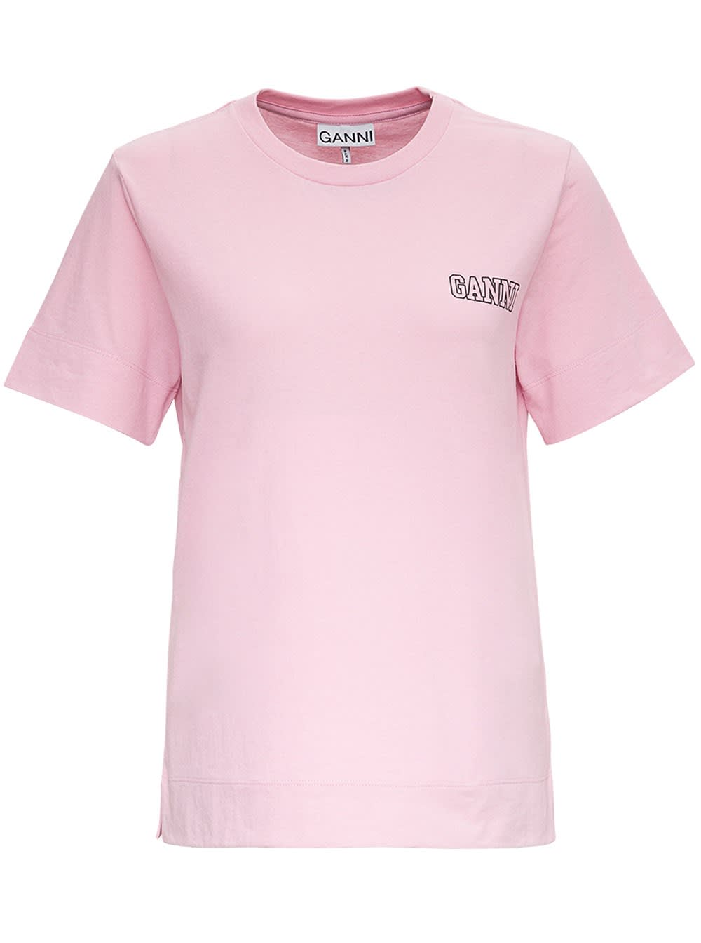 Ganni Thin Software Recycled Jersey T-shirt In Pink
