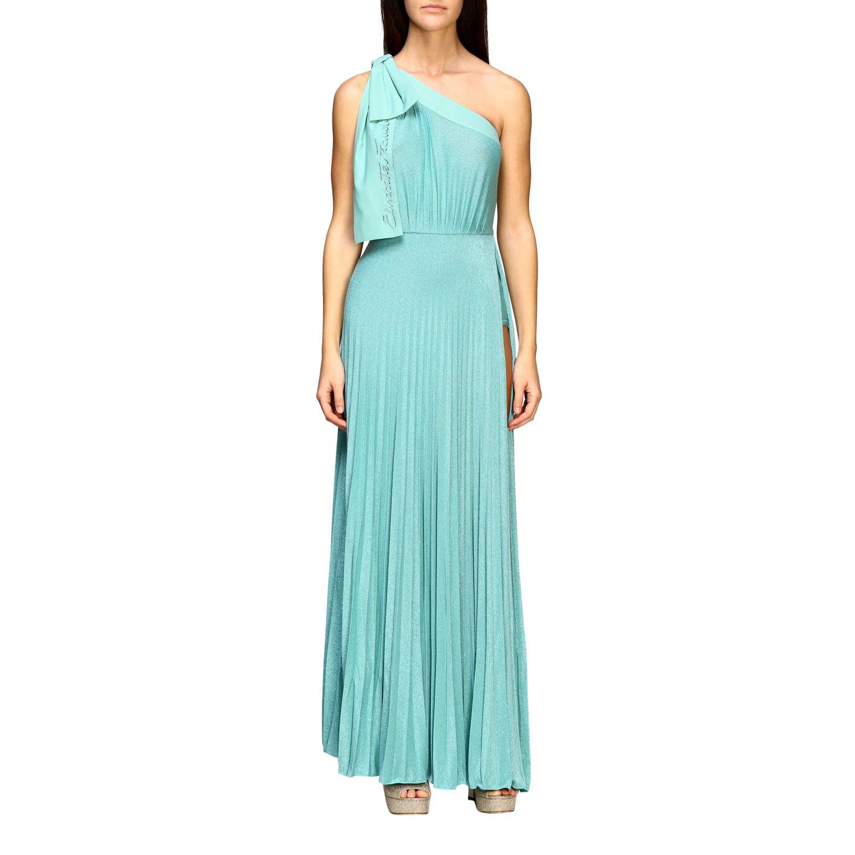 Buy Elisabetta Franchi Dress Elisabetta Franchi Long One-shoulder Dress In Lurex Fabric With Logo online, shop Elisabetta Franchi Celyn B. with free shipping