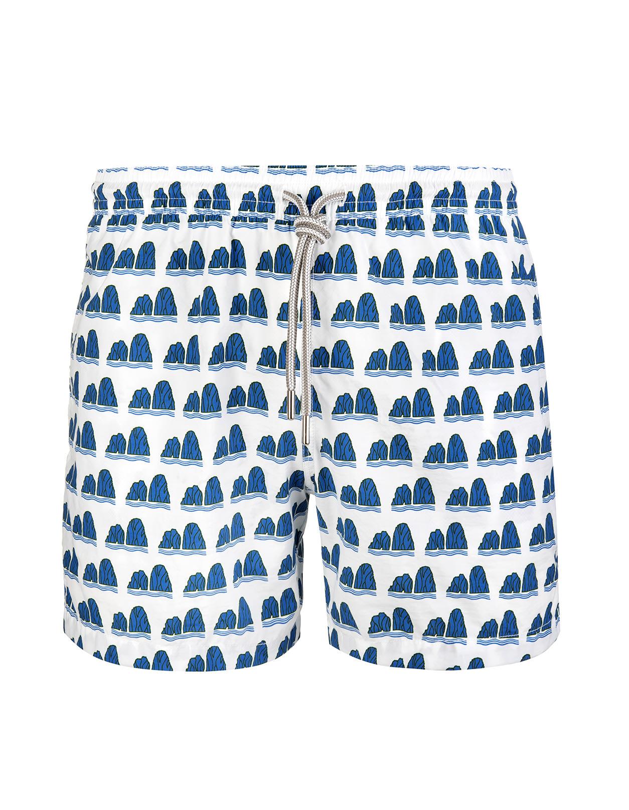 White Swimsuit With Blue Faraglioni Pattern