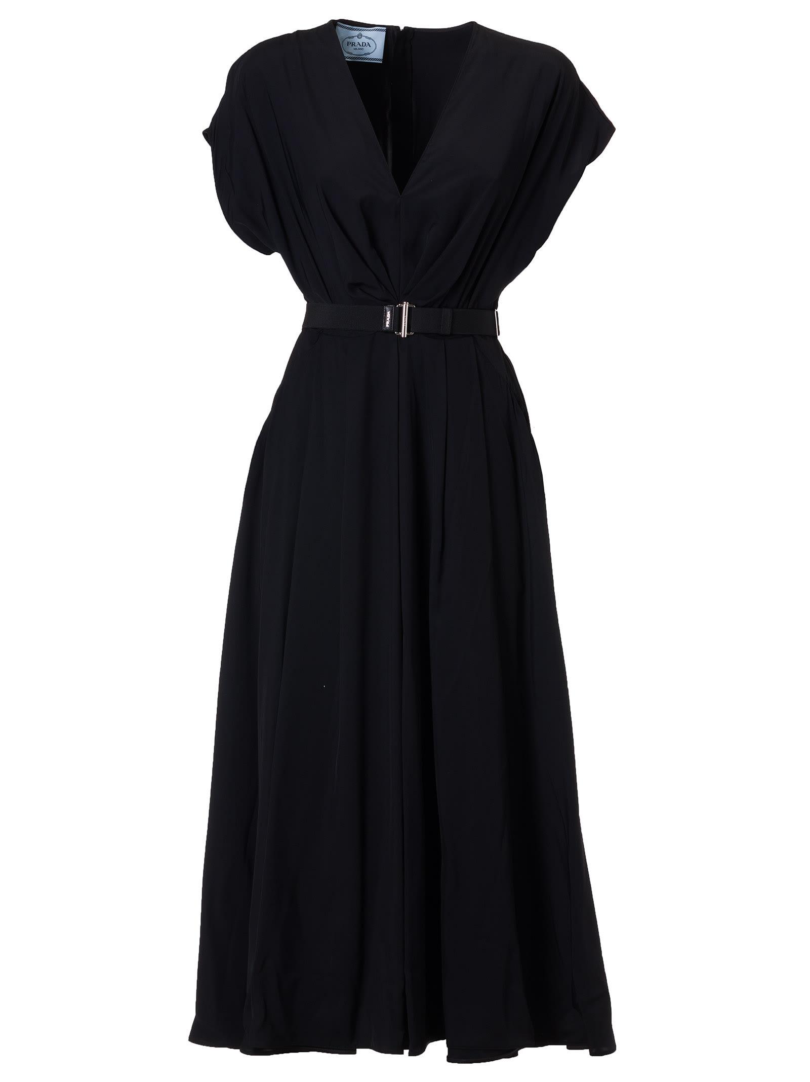 Buy Prada Belted Flared Dress online, shop Prada with free shipping