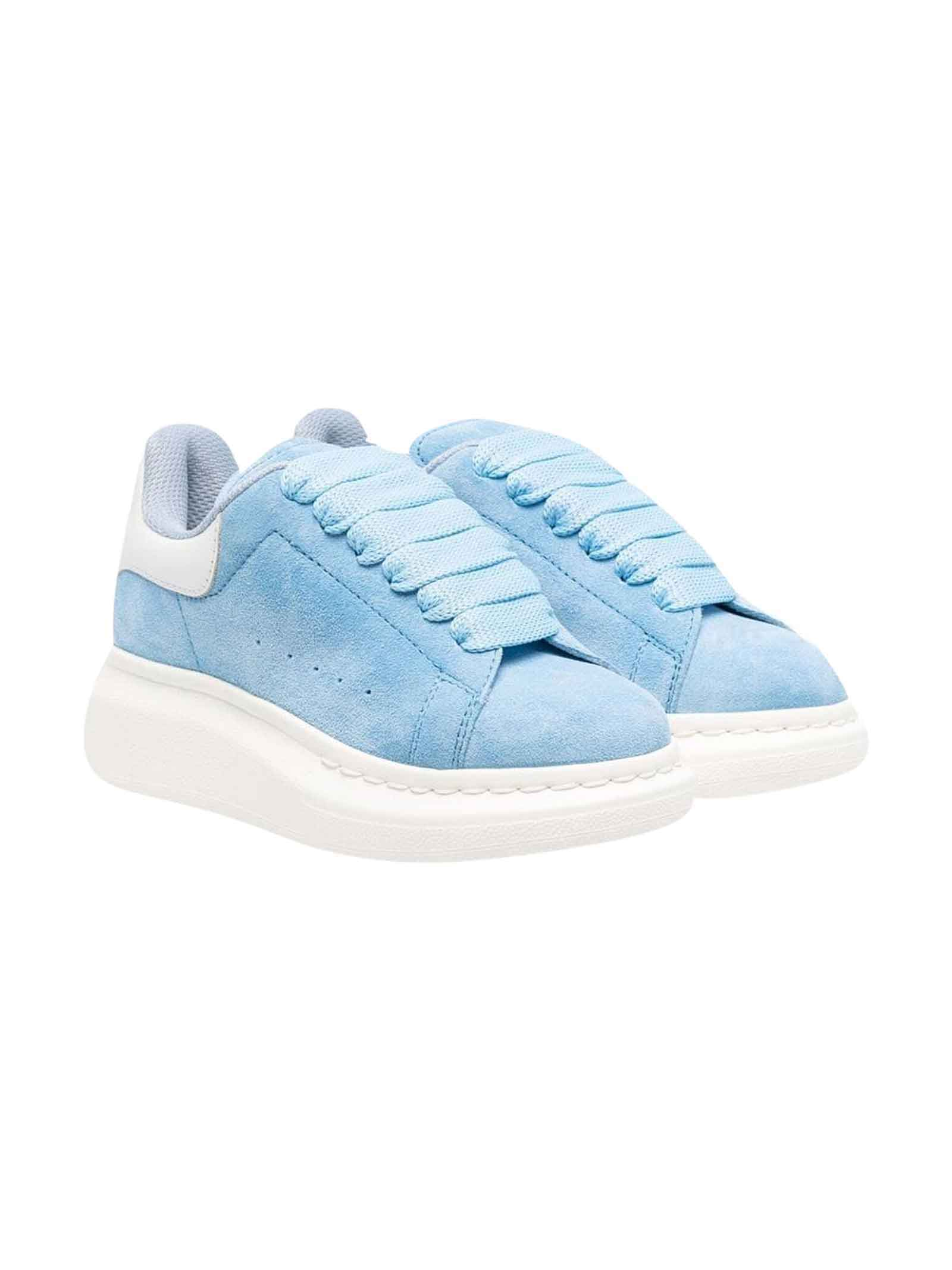 Alexander McQueen Light Blue Sneakers With Round Tip, Higher Sole And Frontal Lace Closure Kids
