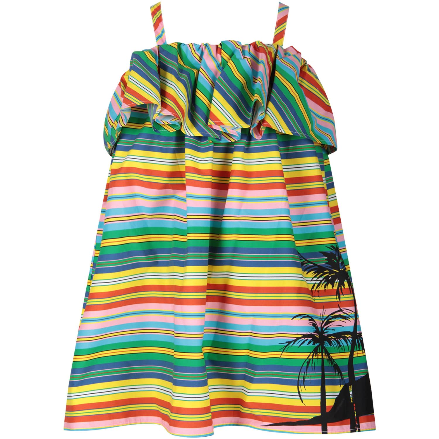 Buy MSGM Multicolor Dress For Girl With Palm Tree online, shop MSGM with free shipping