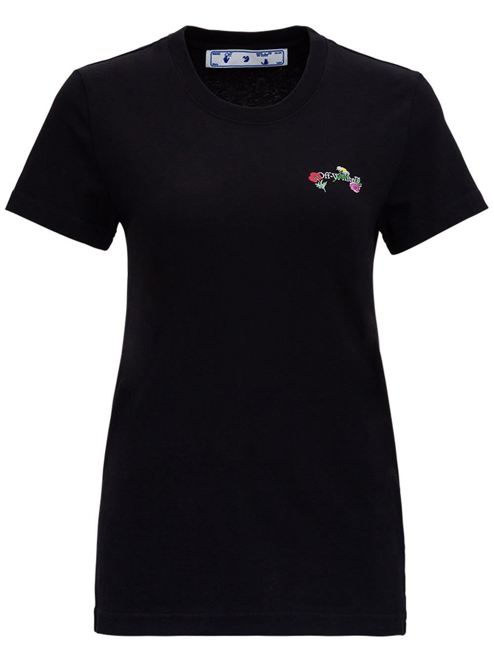 Off-White Arrows Flowers T-shirt In Black Jersey