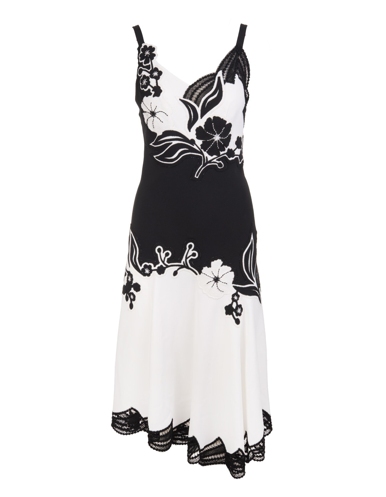 Buy Ermanno Scervino Petticoat Midi Dress With Embroidered Floral Inlays online, shop Ermanno Scervino with free shipping