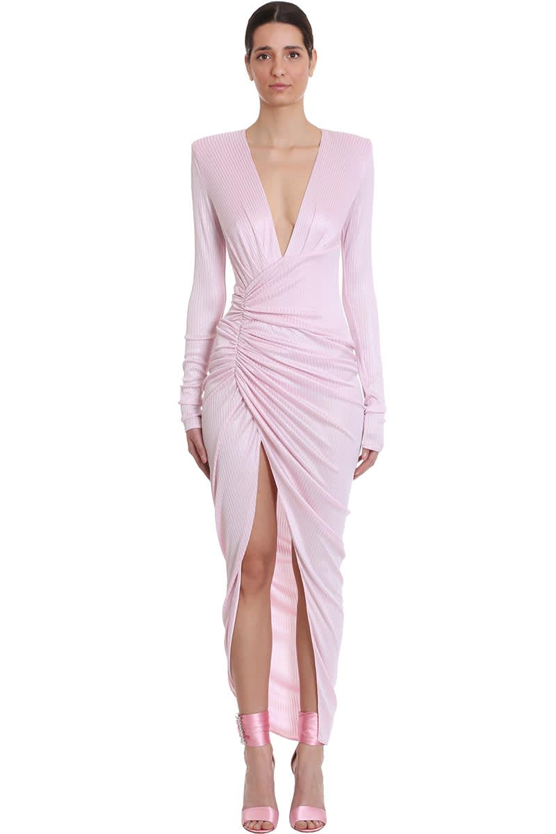 Buy Alexandre Vauthier Dress In Rose-pink Polyester online, shop Alexandre Vauthier with free shipping
