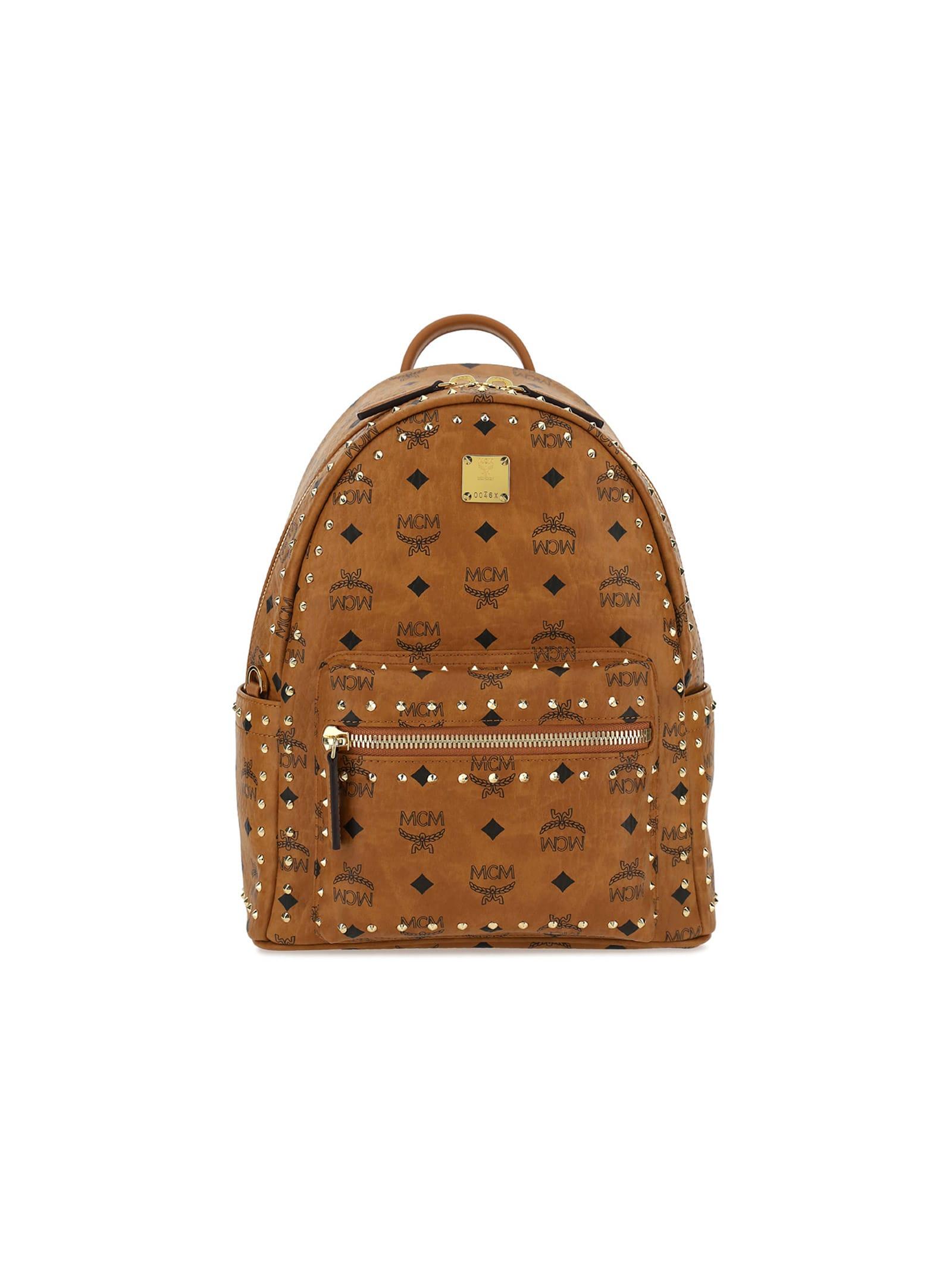 Mcm Stark Backpack In Cognac