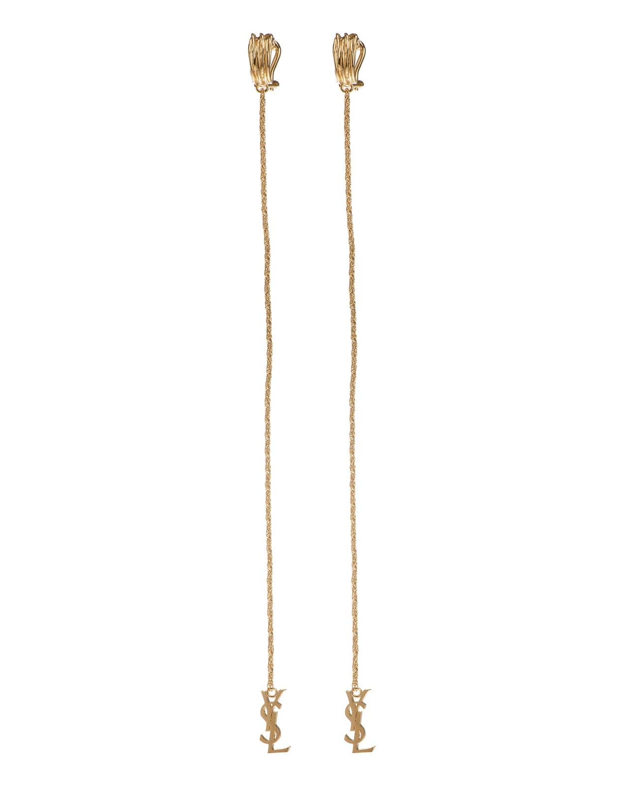 Saint Laurent Gold Opyum Monogram Earrings