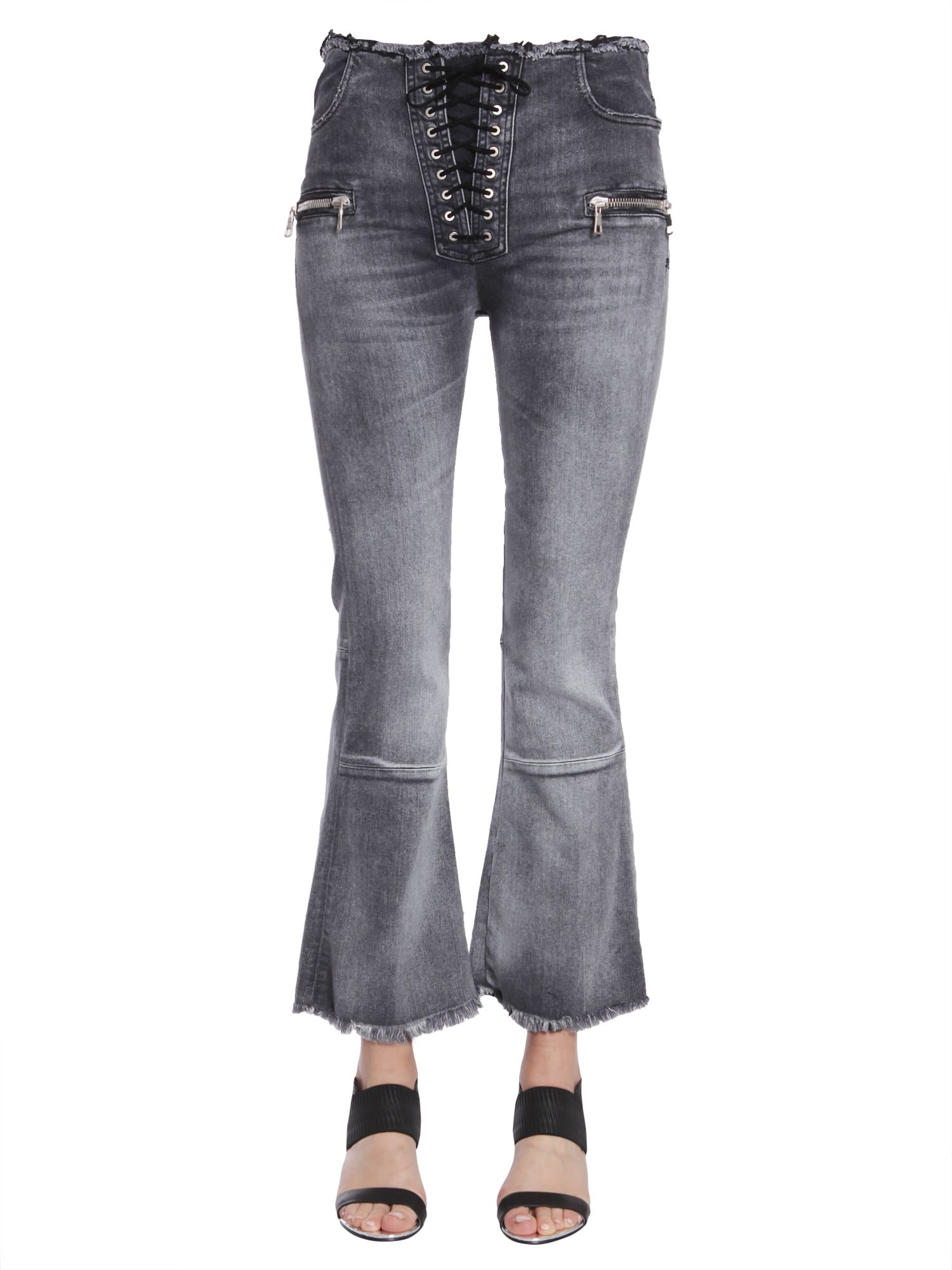 Ben Taverniti Unravel Project Laceup Flare Cropped Jeans