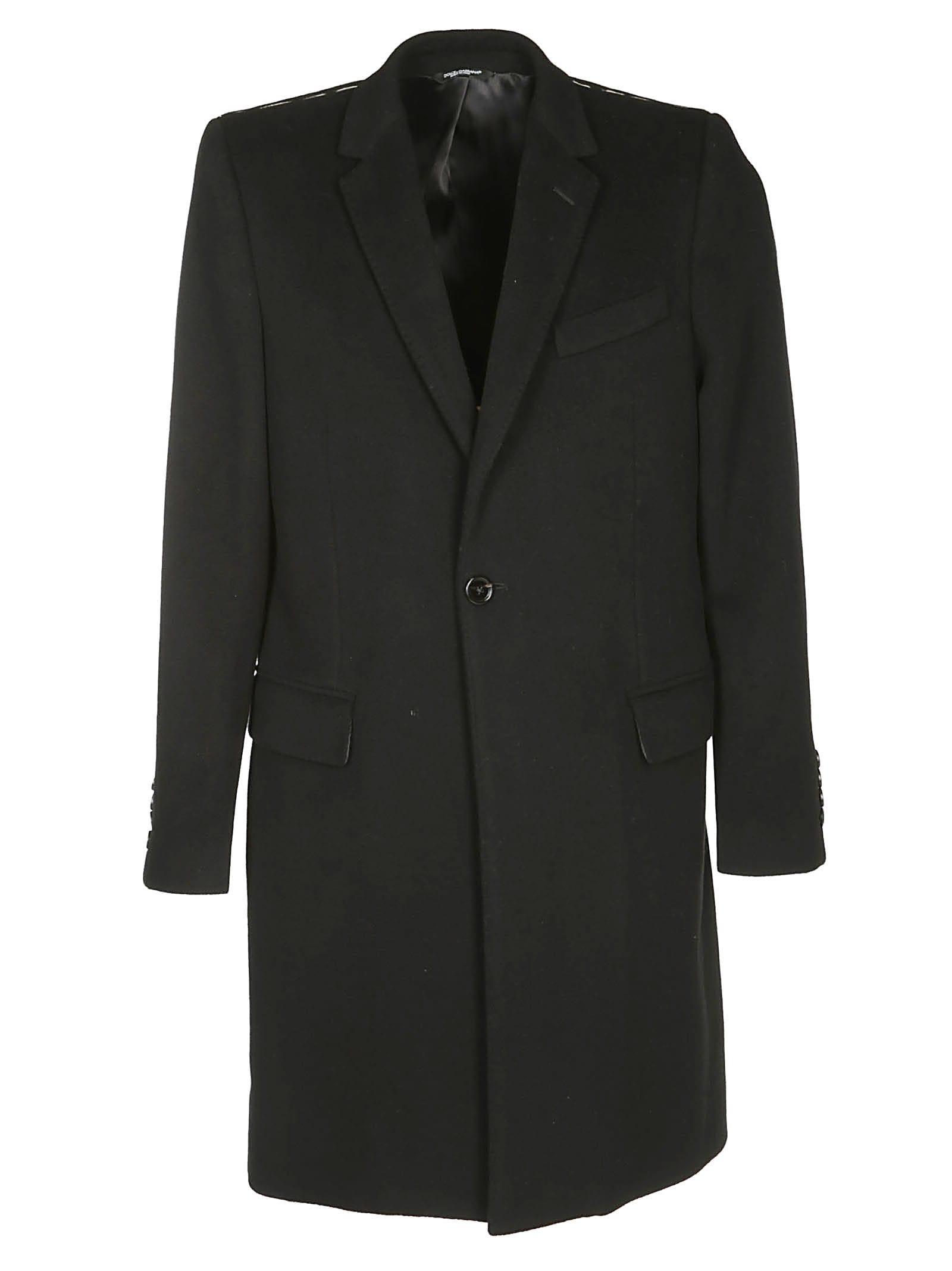 Dolce & Gabbana Black Wool-cashmere Blend Coat