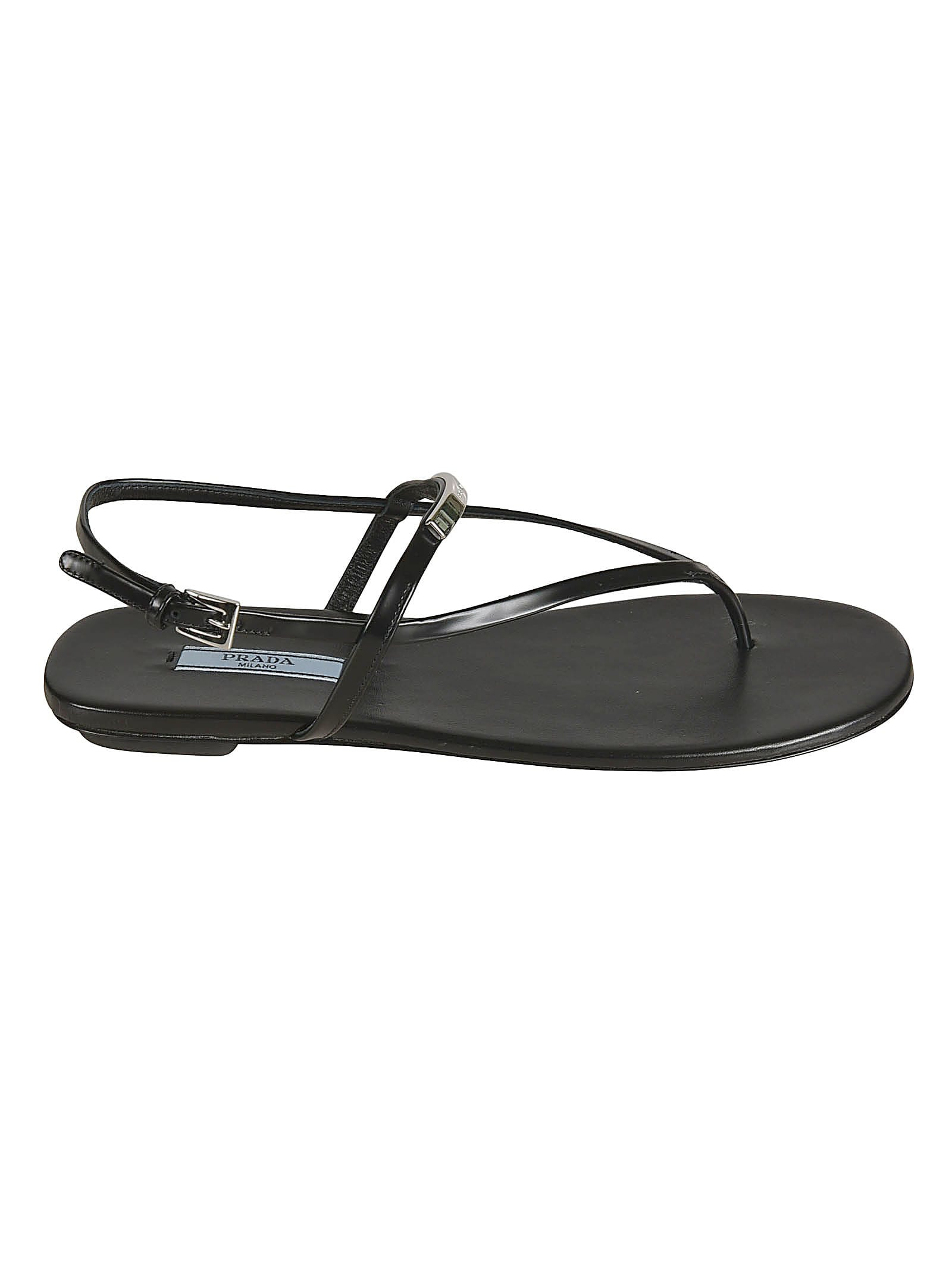 Buy Prada Side Buckled Flat Sandals online, shop Prada shoes with free shipping