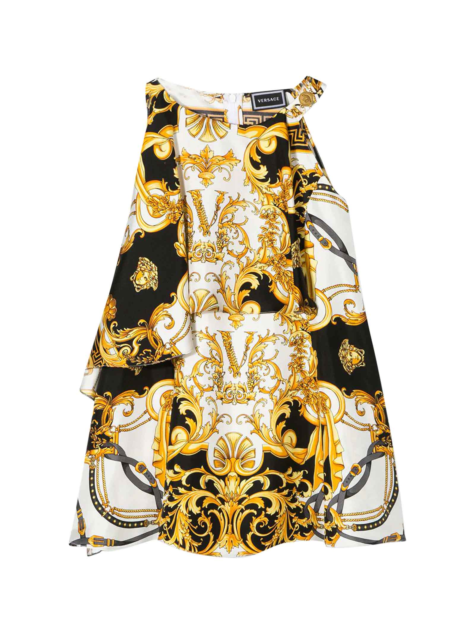 Buy Young Versace Midi Dress With Multicolor Baroque Press online, shop Young Versace with free shipping
