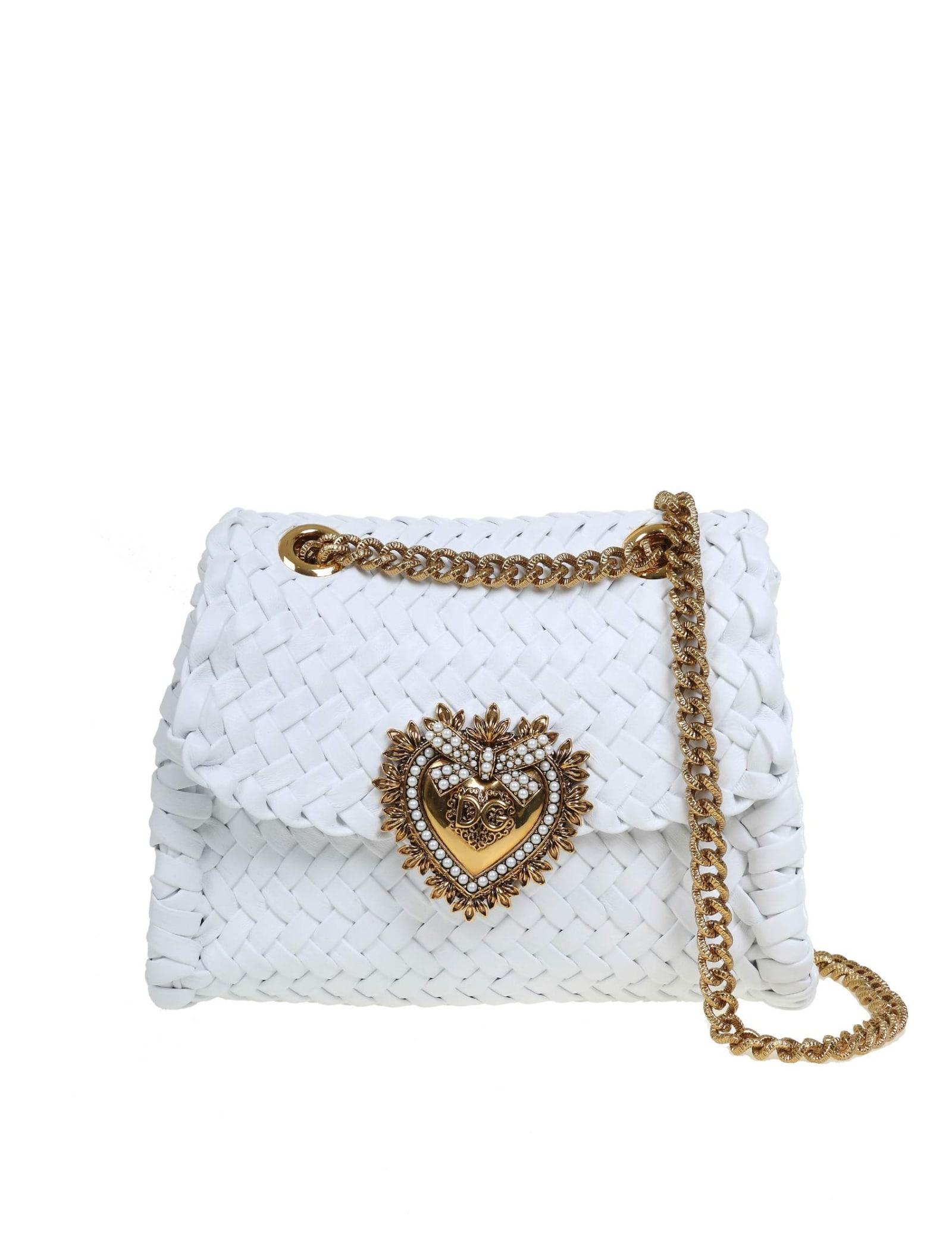 Dolce & Gabbana Small Devotion Shoulder Bag In Woven Nappa In White